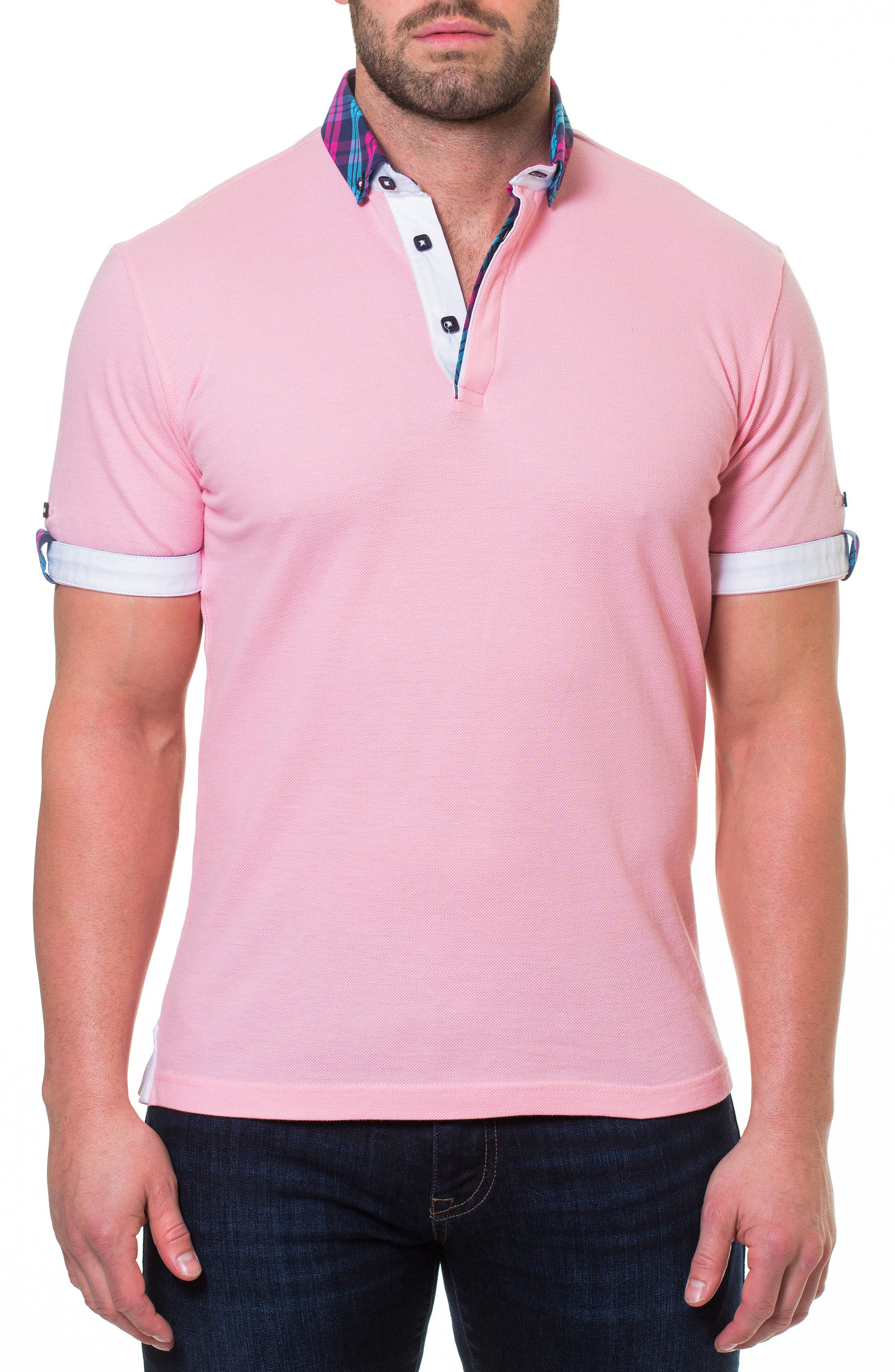 Woven Trim Polo,                             Main thumbnail 1, color,                             Pink
