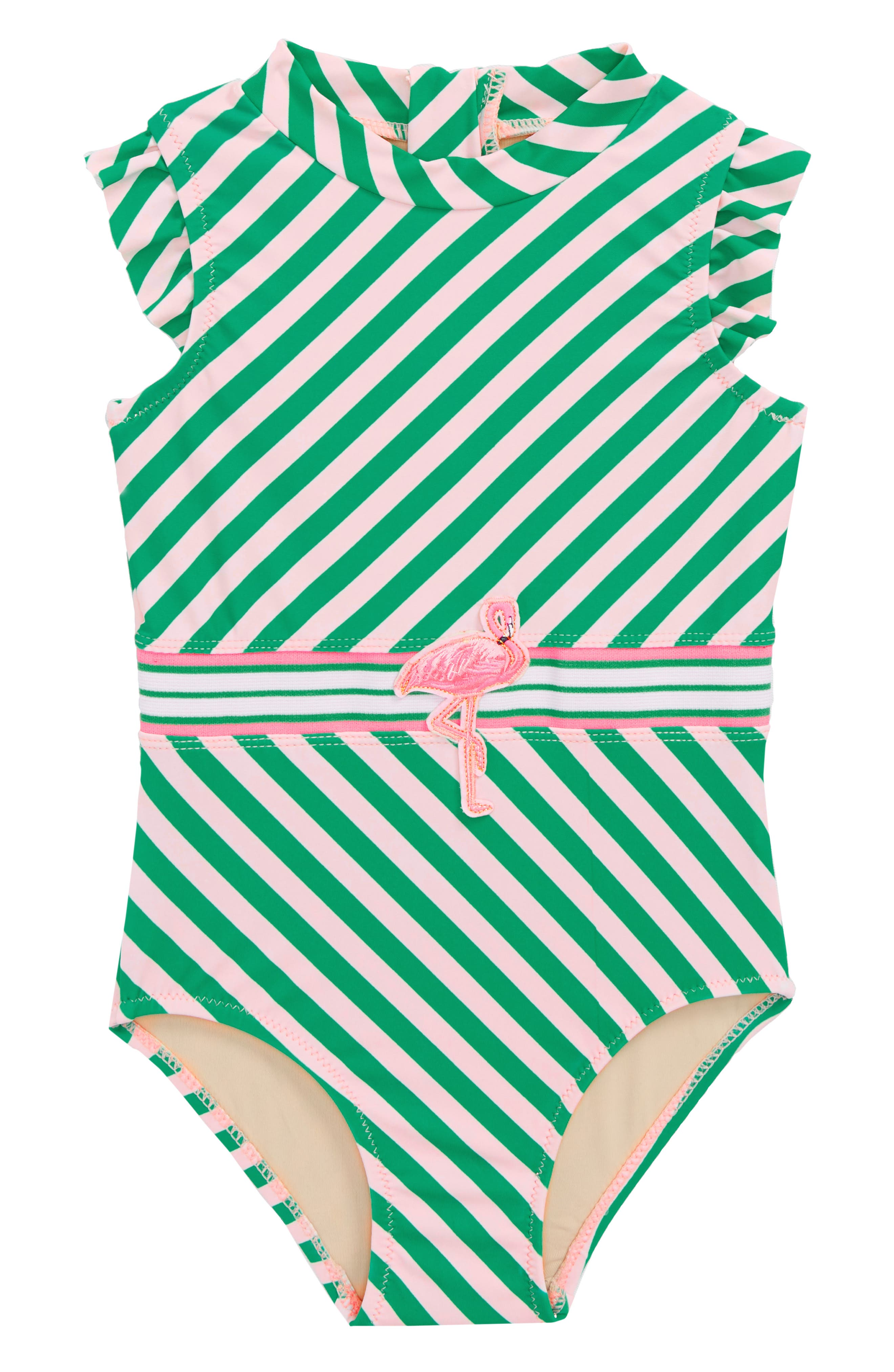 Flamingo Belt One-Piece Swimsuit,                             Main thumbnail 1, color,                             Green Stripe