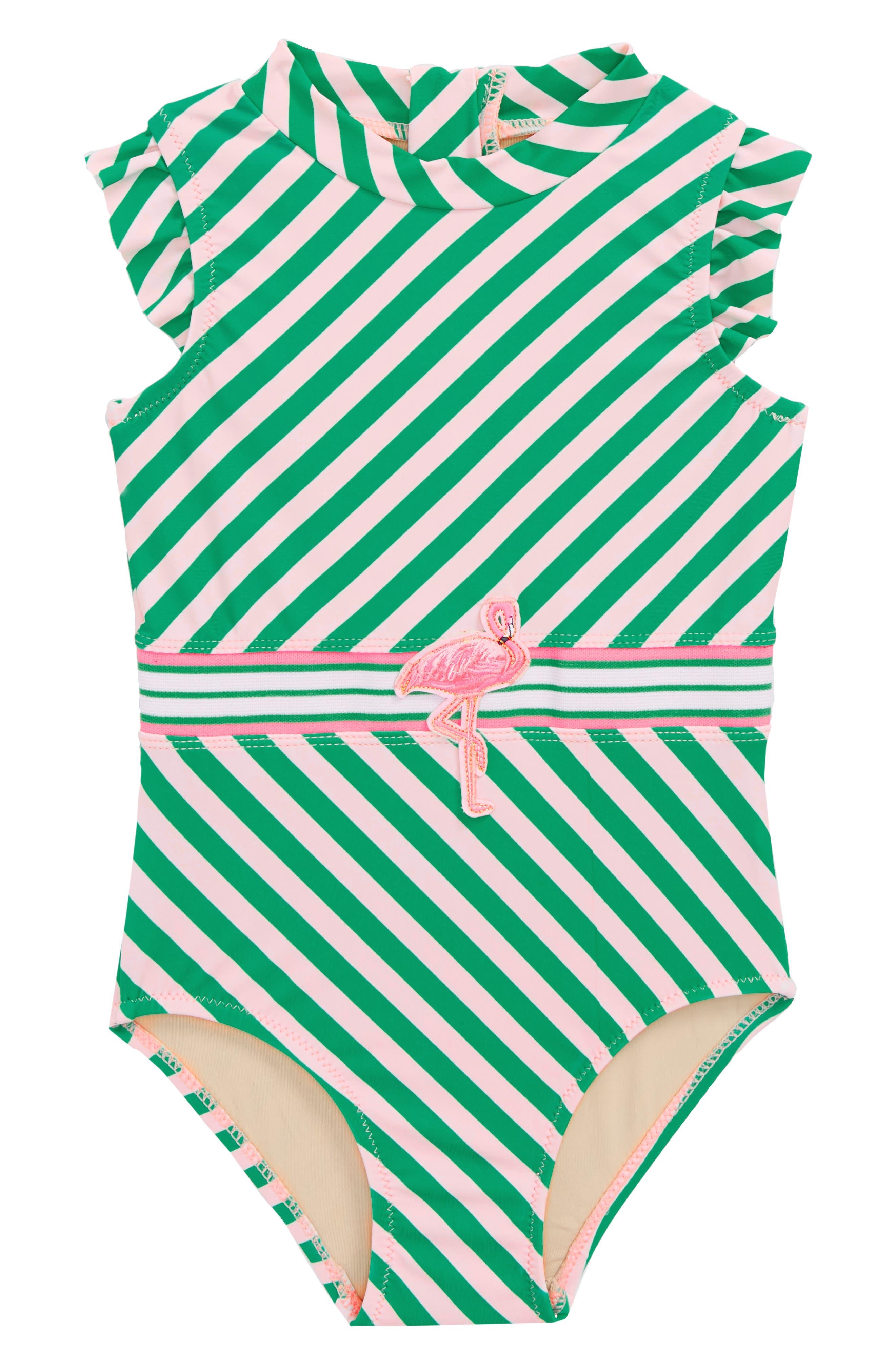 Flamingo Belt One-Piece Swimsuit,                         Main,                         color, Green Stripe