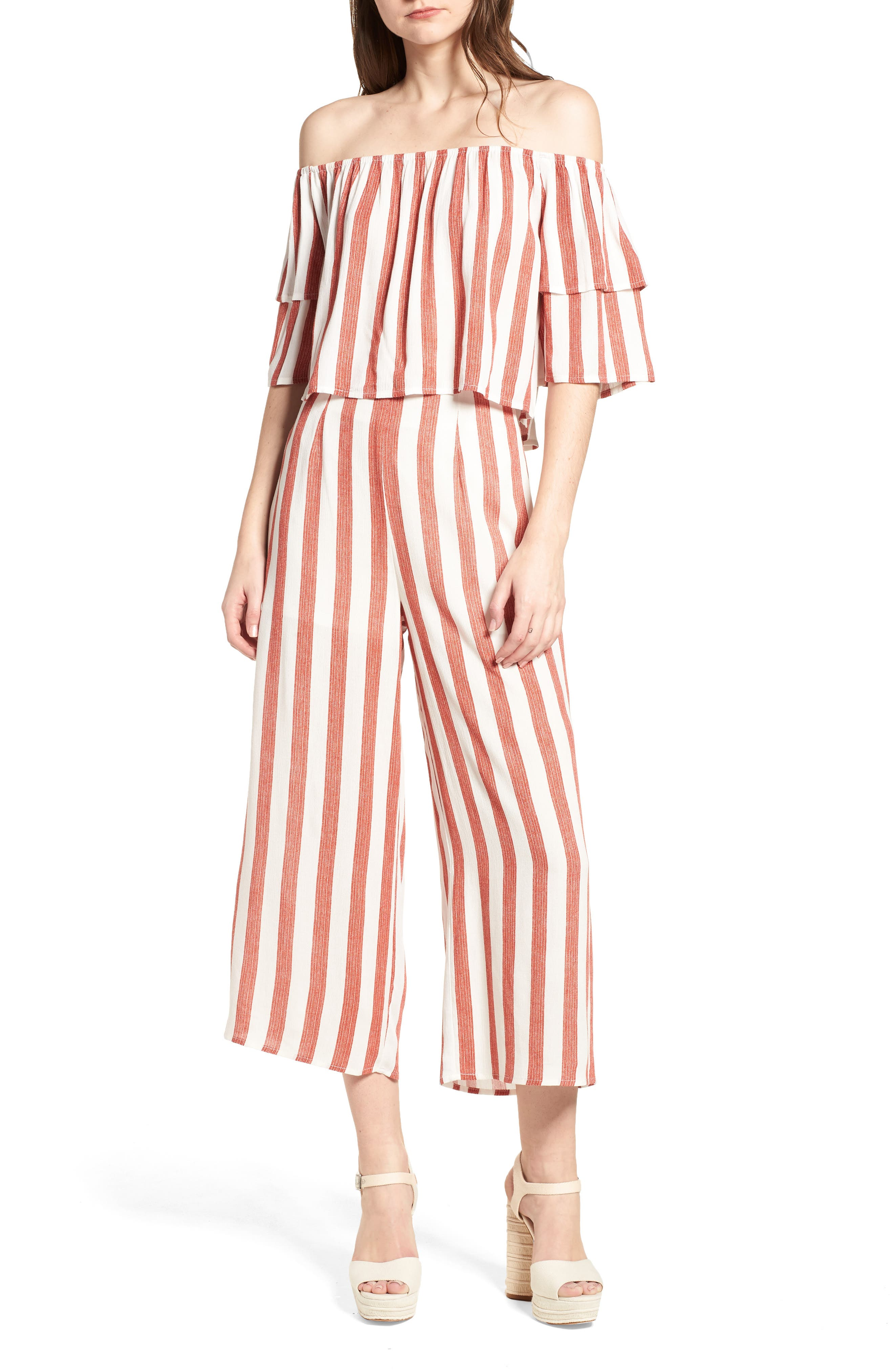 Stripe Culottes,                             Alternate thumbnail 2, color,                             Red/ Ivory