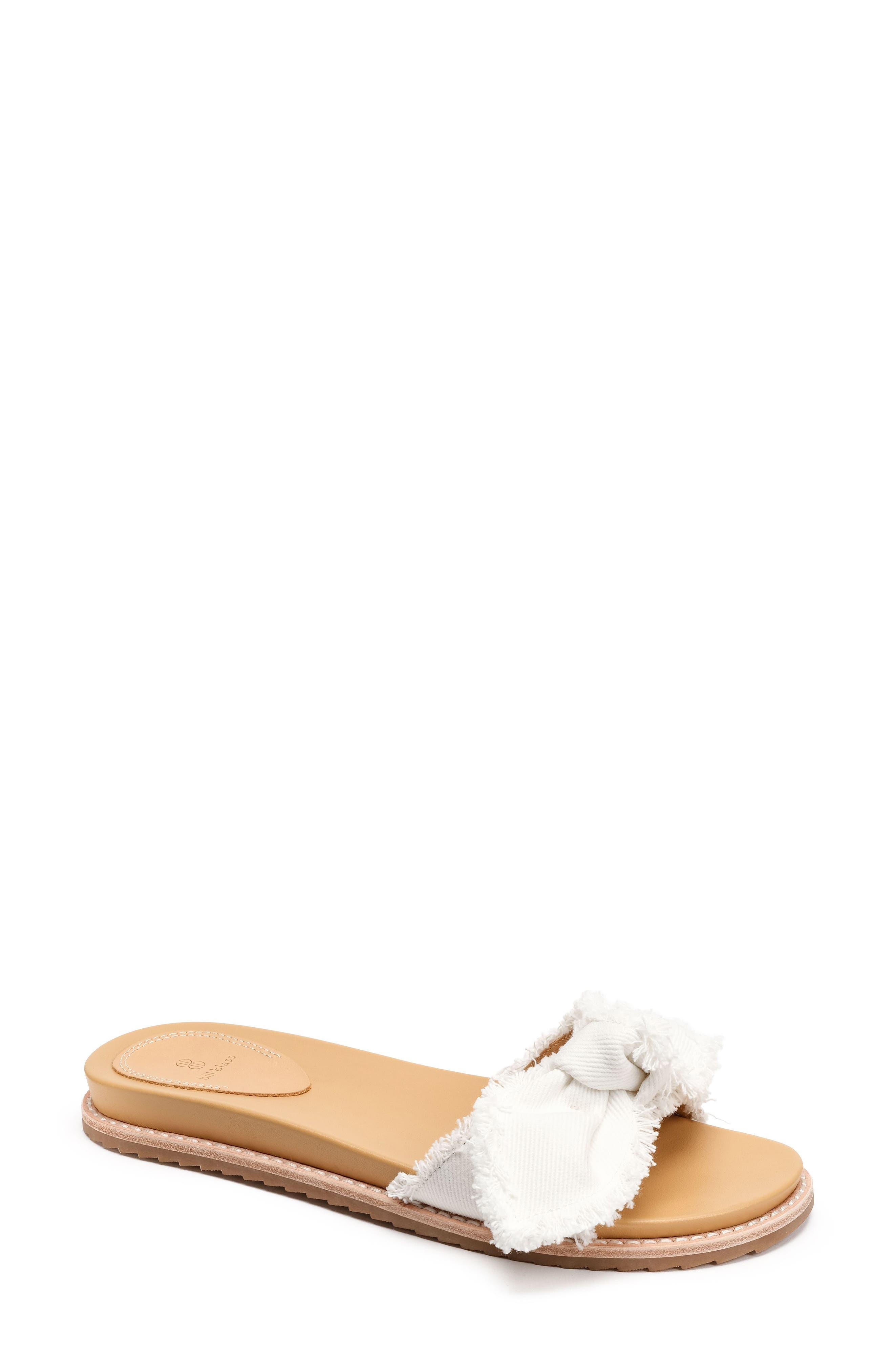Carmela Slide Sandal,                             Main thumbnail 1, color,                             White Fabric