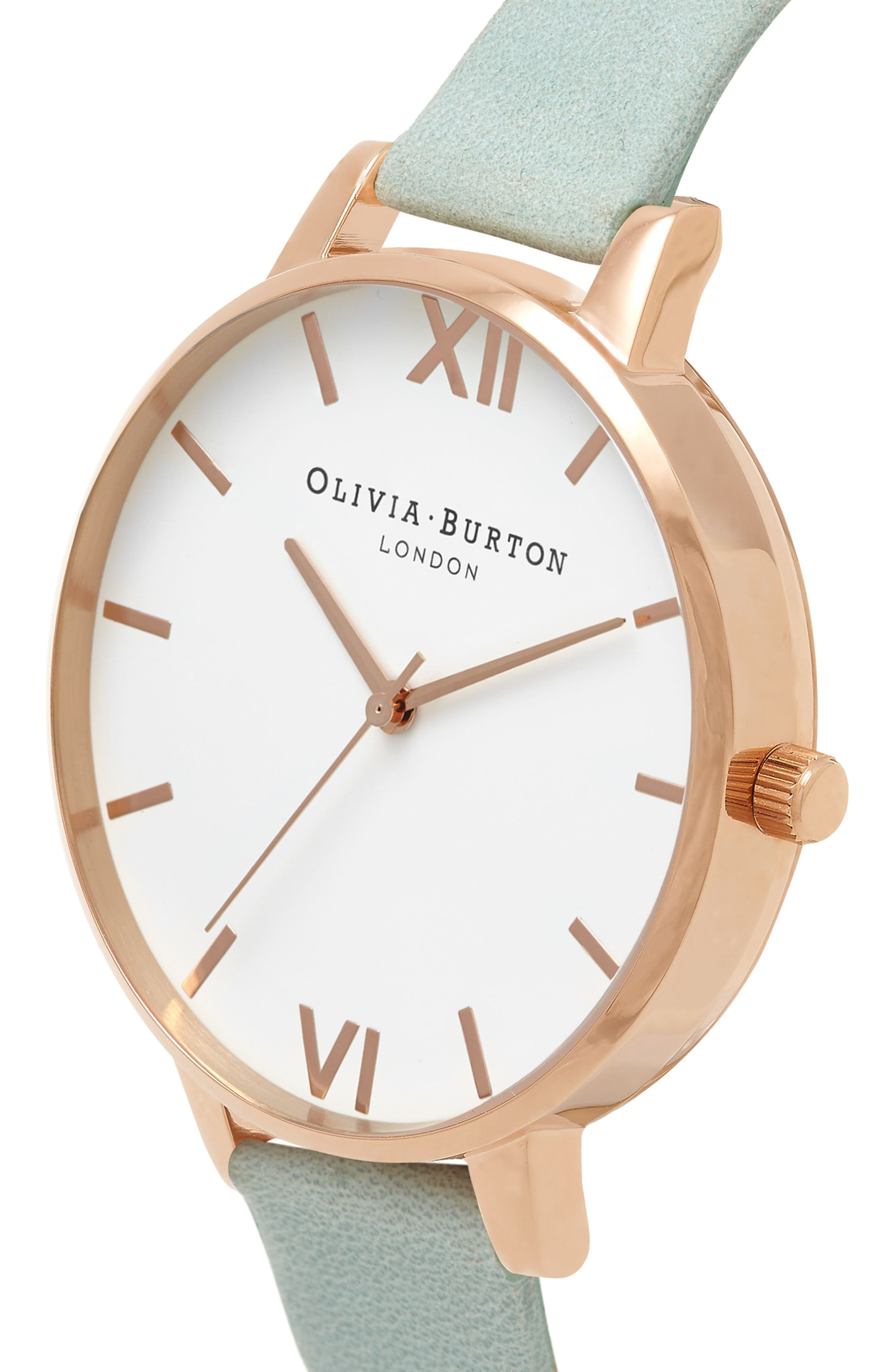 Leather Strap Watch, 38mm,                             Alternate thumbnail 3, color,                             Sage/ White/ Rose Gold