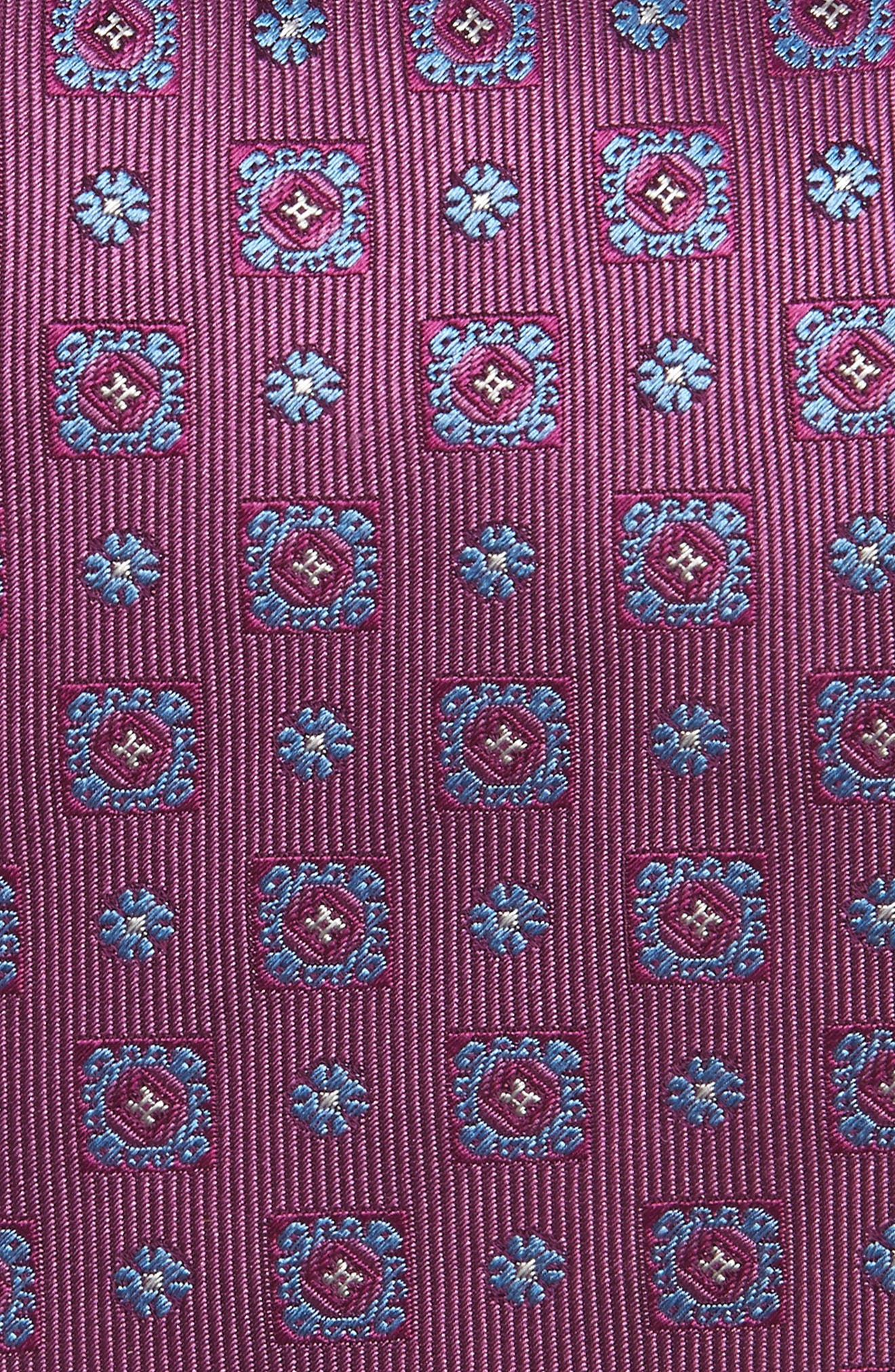 Medallion Silk Tie,                             Alternate thumbnail 2, color,                             Berry