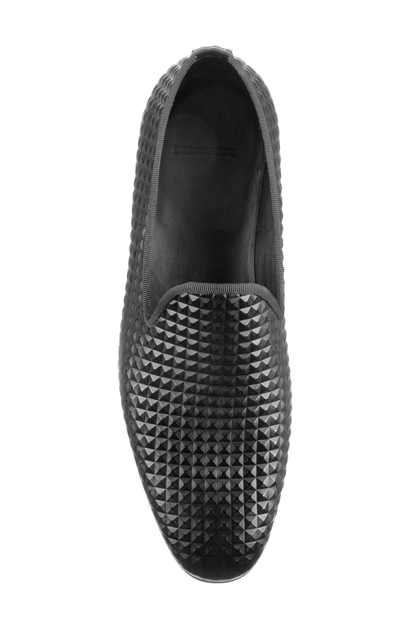 Hugh Pyramid Embossed Venetian Loafer,                             Alternate thumbnail 5, color,                             Black Leather