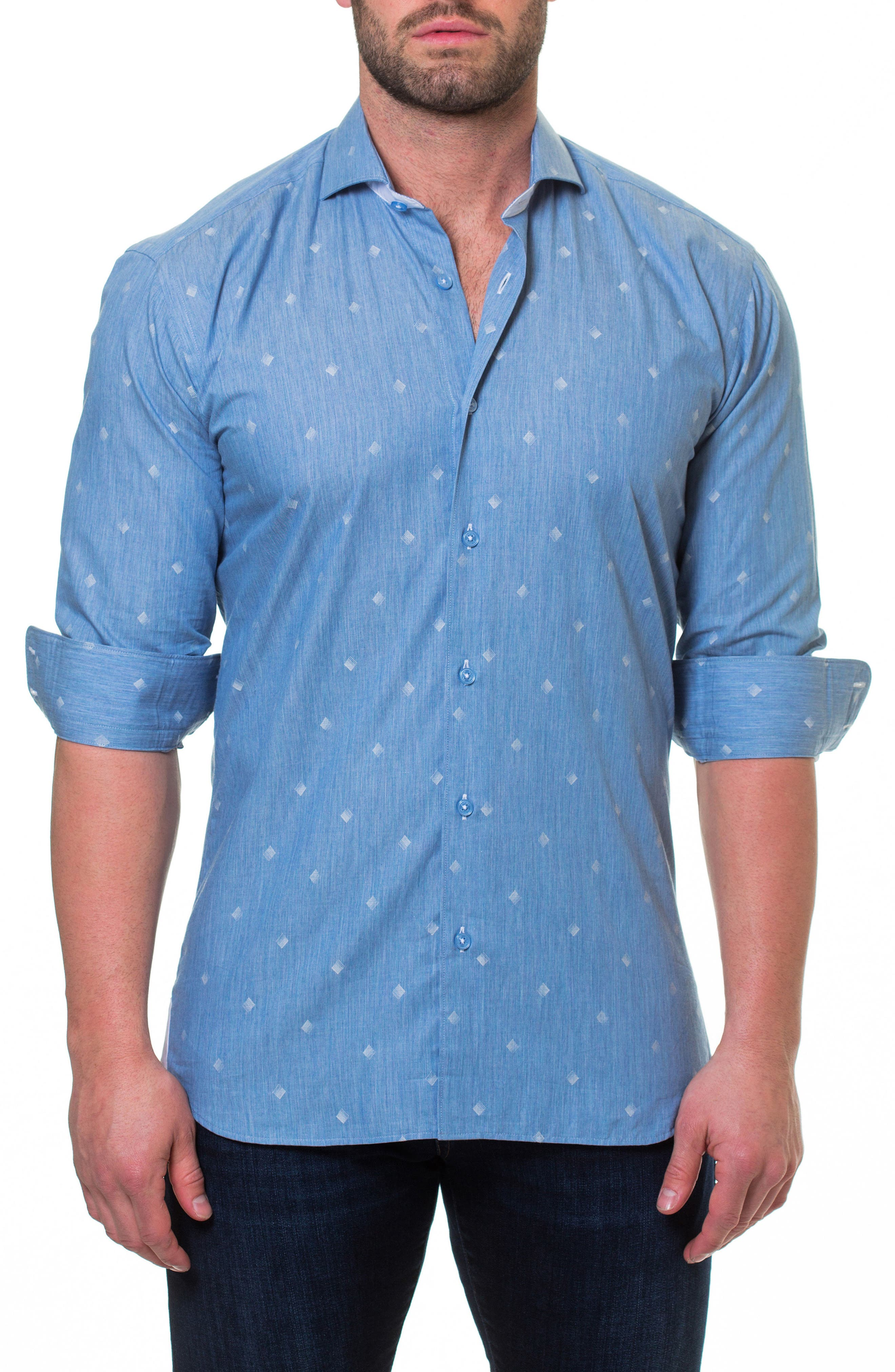 Wall Street Print Sport Shirt,                         Main,                         color, Blue
