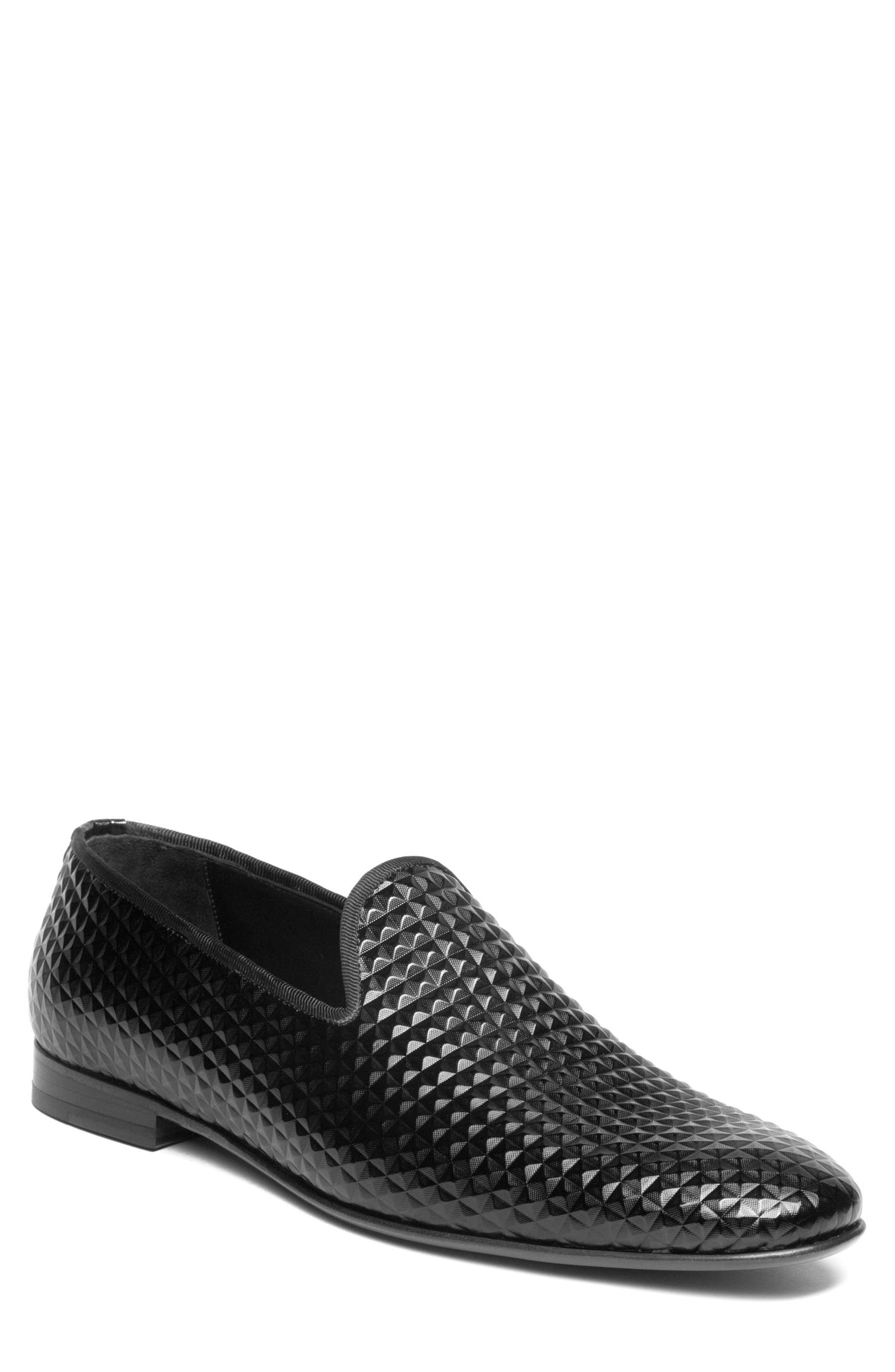 Hugh Pyramid Embossed Venetian Loafer,                             Main thumbnail 1, color,                             Black Leather