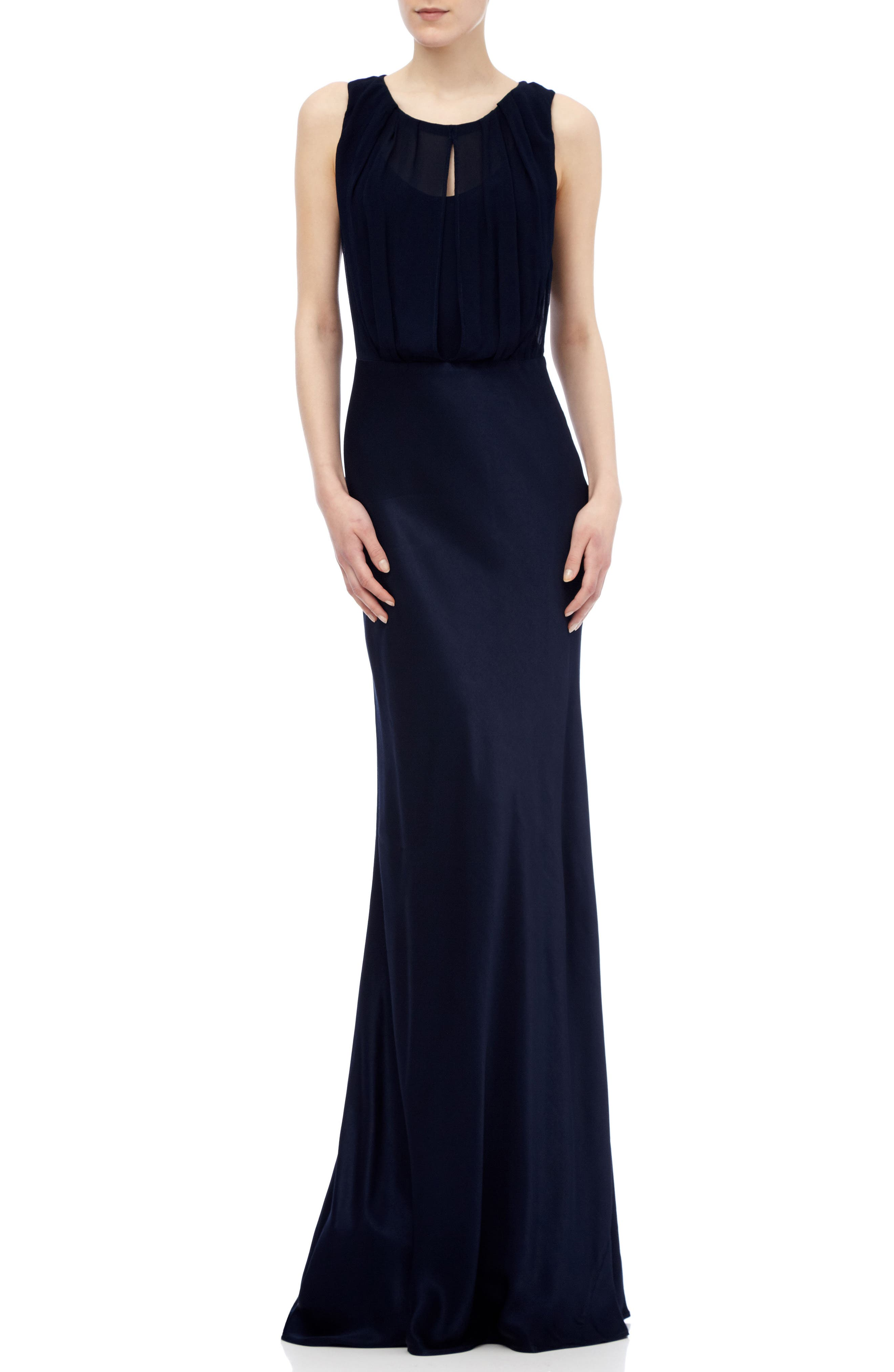Claudia Cowl Back Gown,                             Main thumbnail 1, color,                             Navy