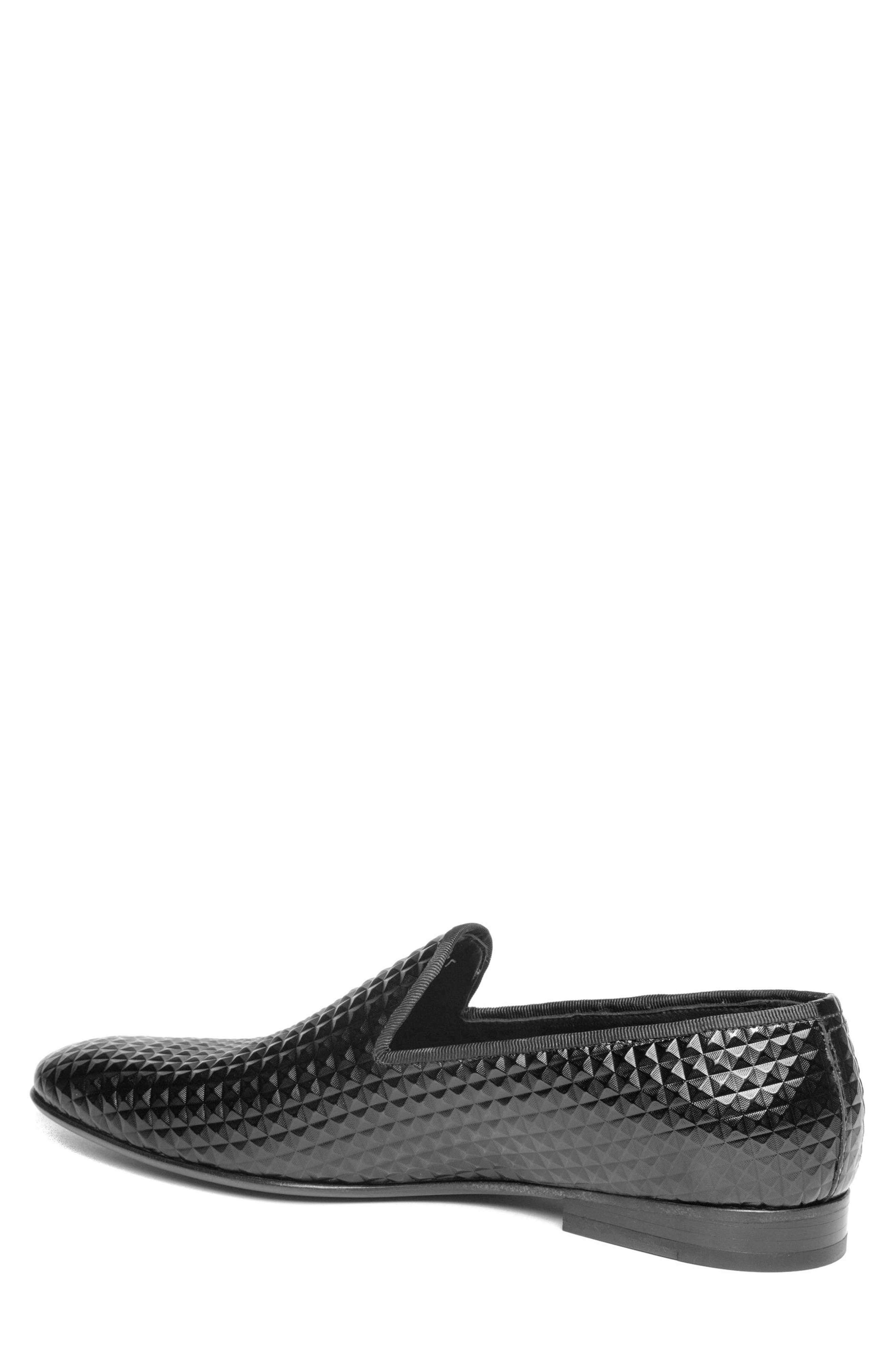 Hugh Pyramid Embossed Venetian Loafer,                             Alternate thumbnail 2, color,                             Black Leather
