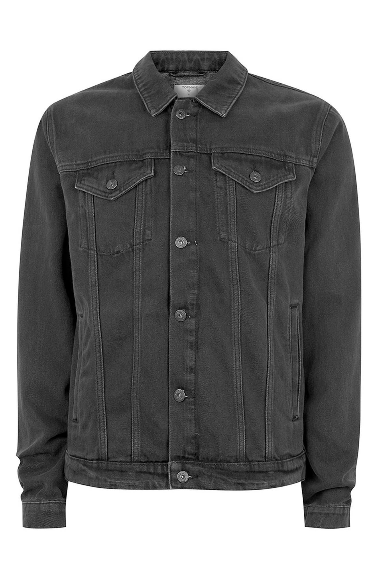Western Denim Jacket,                             Alternate thumbnail 5, color,                             Black