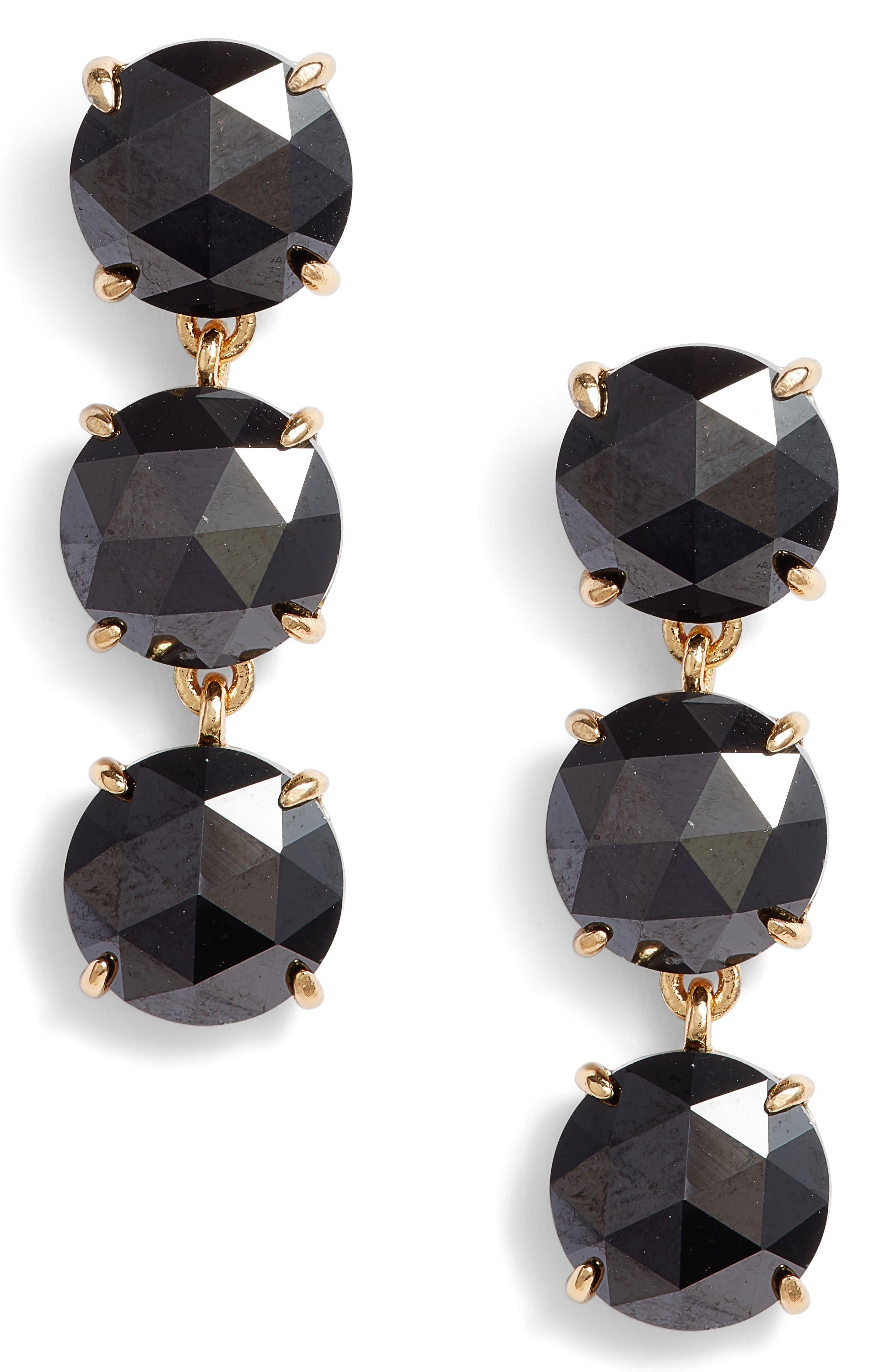 bright ideas triple drop earrings,                         Main,                         color, Jet