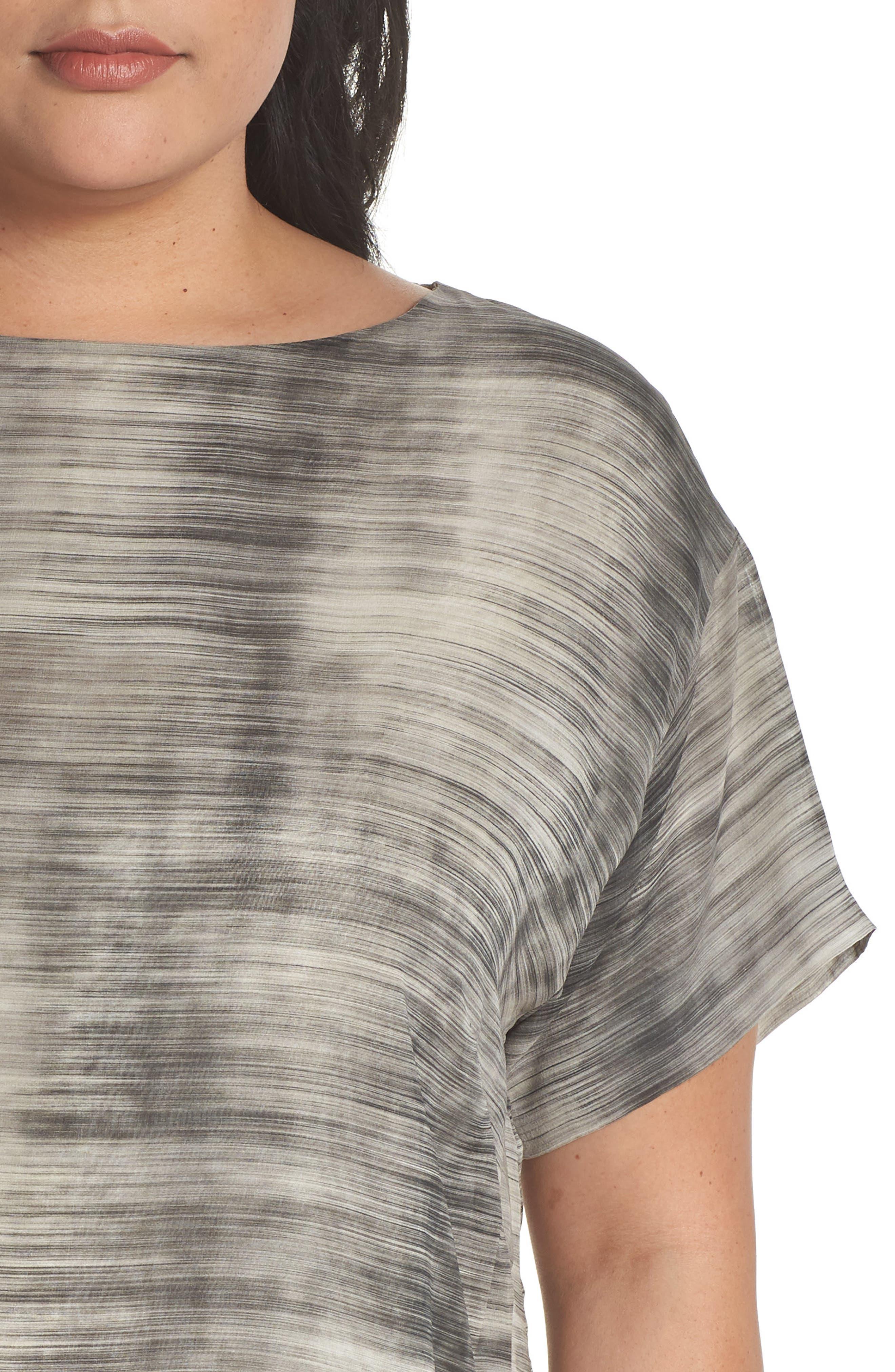 Bateau Neck Silk Shift Dress,                             Alternate thumbnail 4, color,                             Limestone