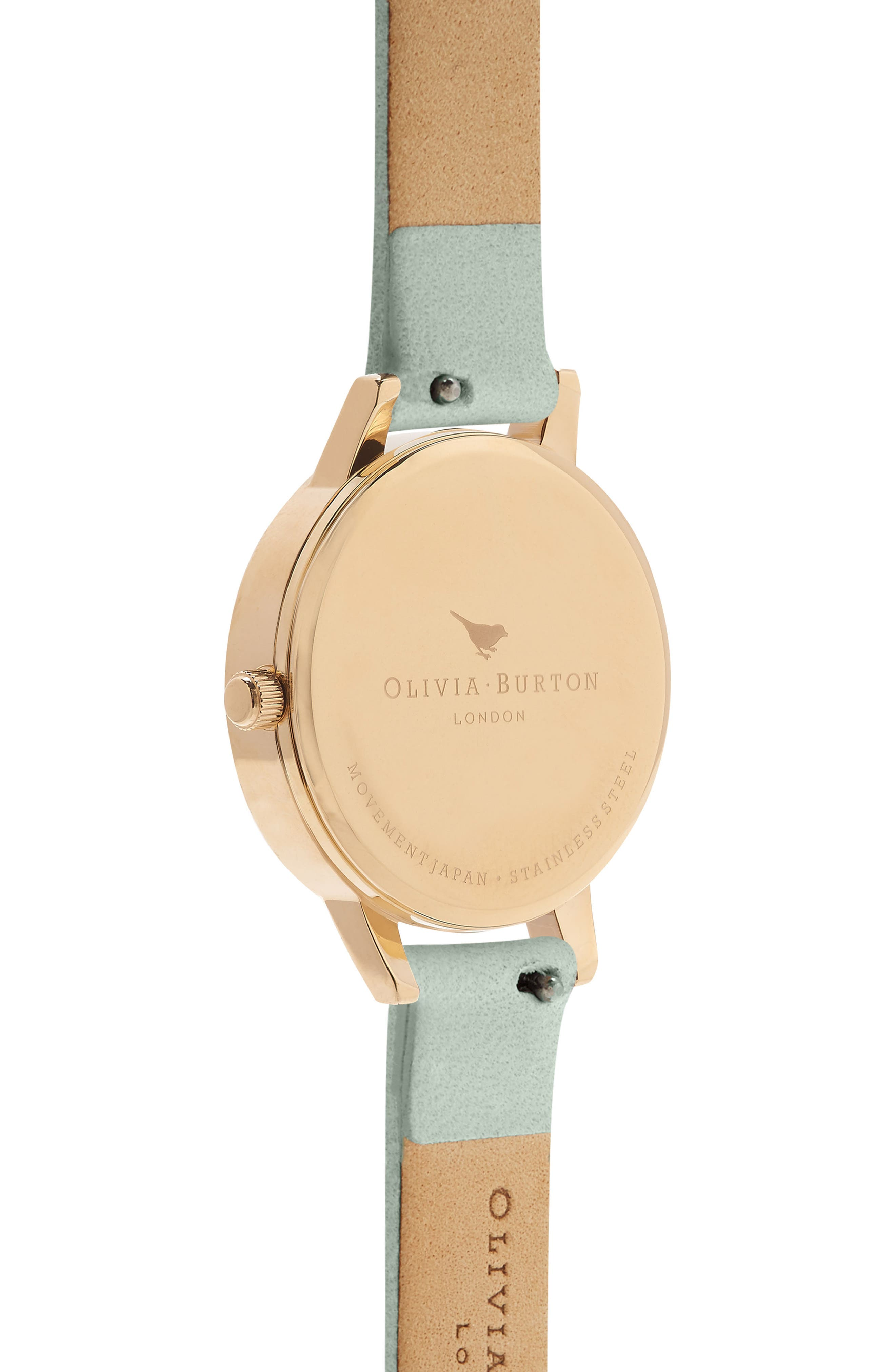 Leather Strap Watch, 30mm,                             Alternate thumbnail 2, color,                             Sage/ White/ Gold