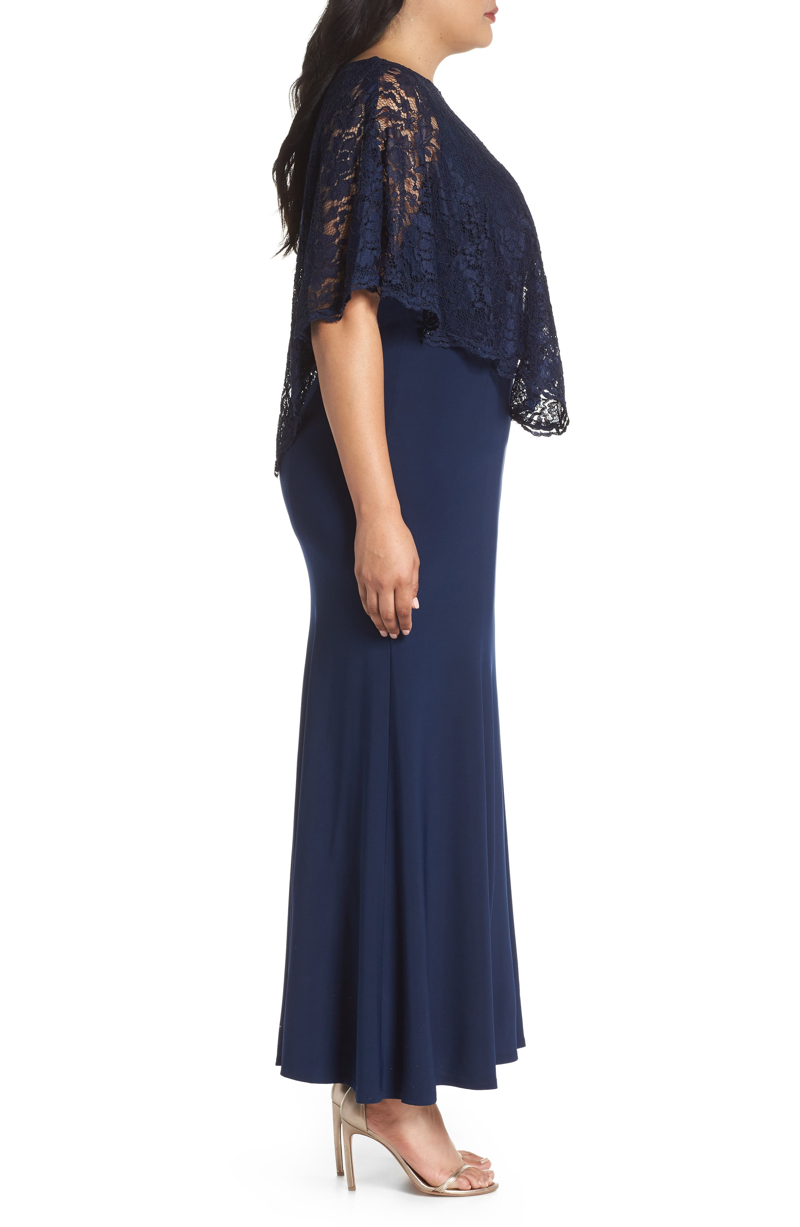 Lace Poncho Dress,                             Alternate thumbnail 3, color,                             Navy