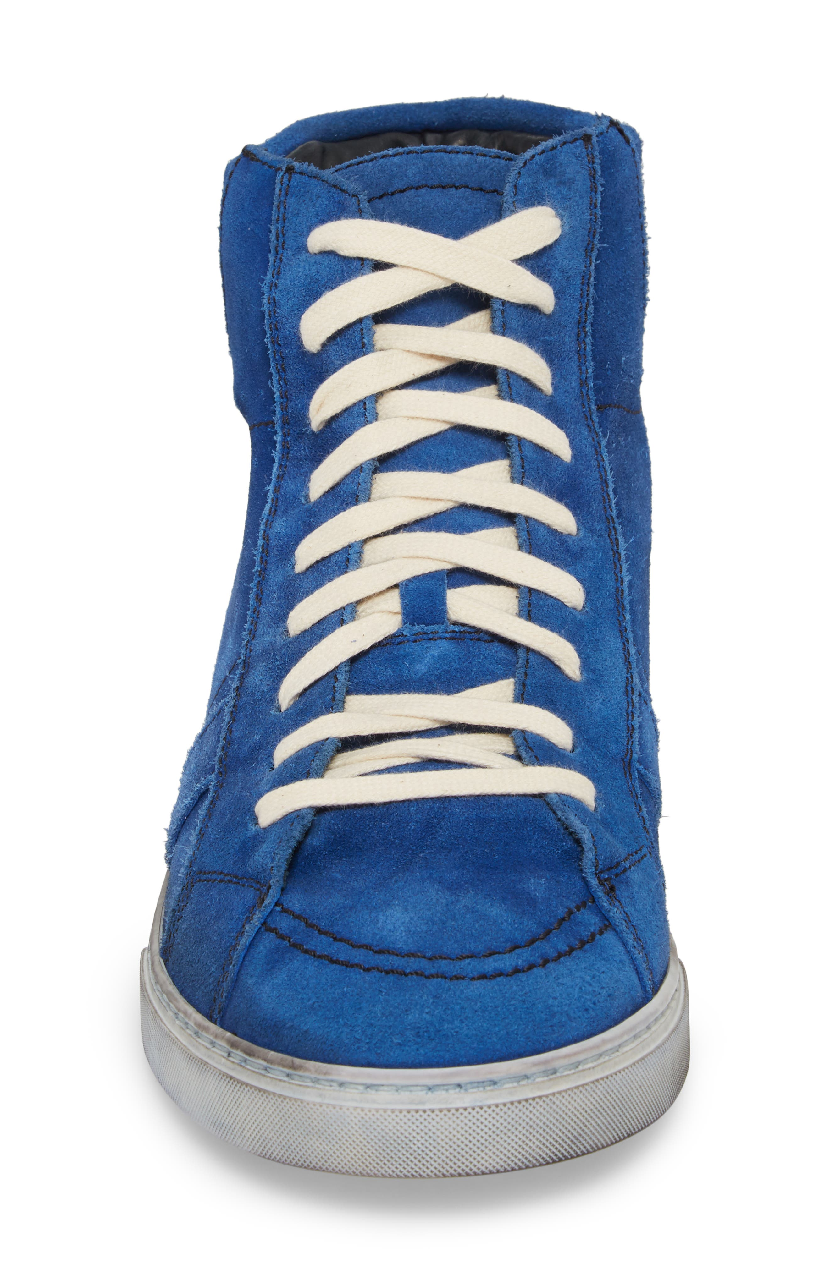 High Top Sneaker,                             Alternate thumbnail 4, color,                             Blue Suede