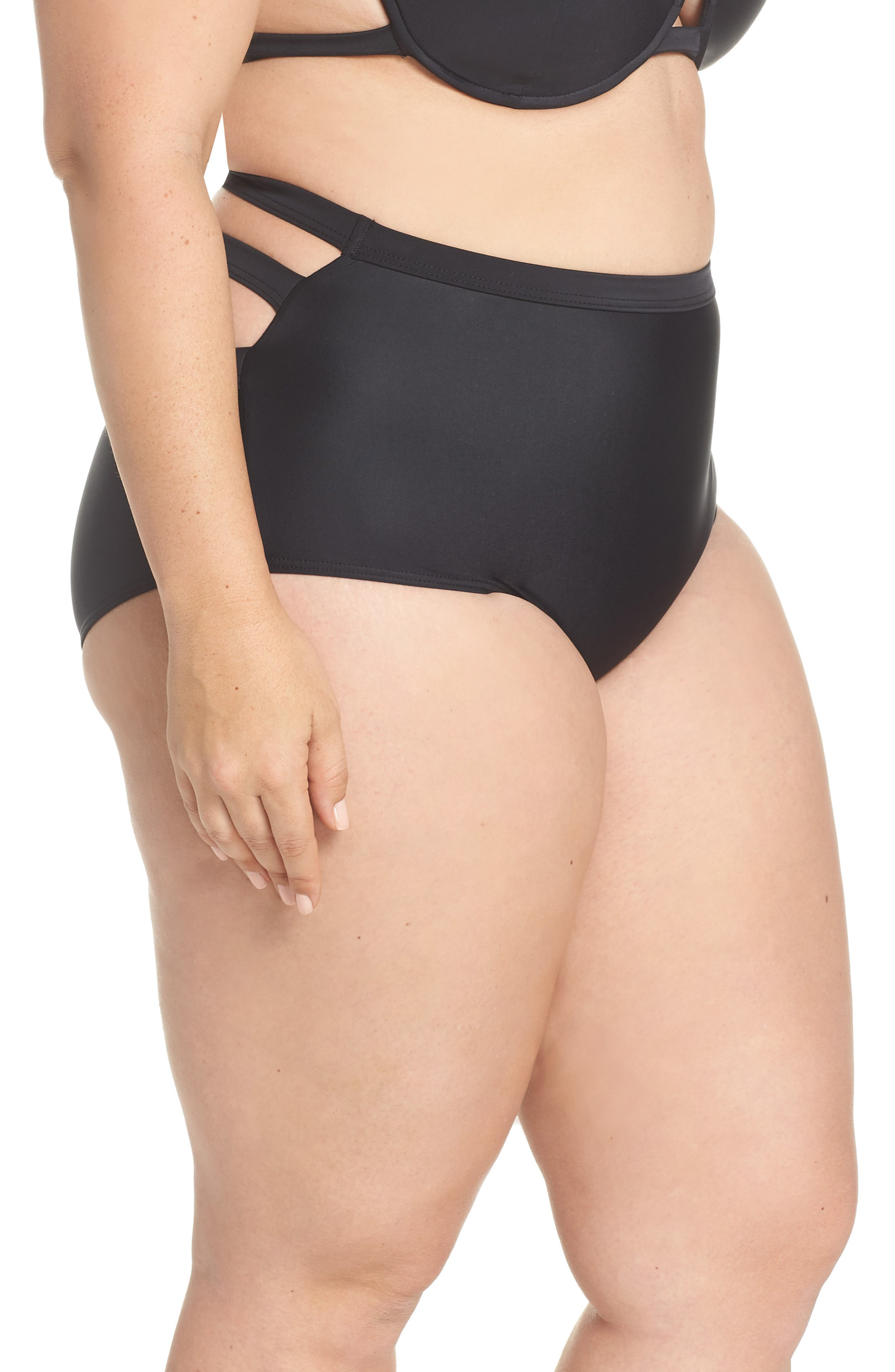 Bouloux II High Waist Bikini Bottoms,                             Alternate thumbnail 10, color,                             Black