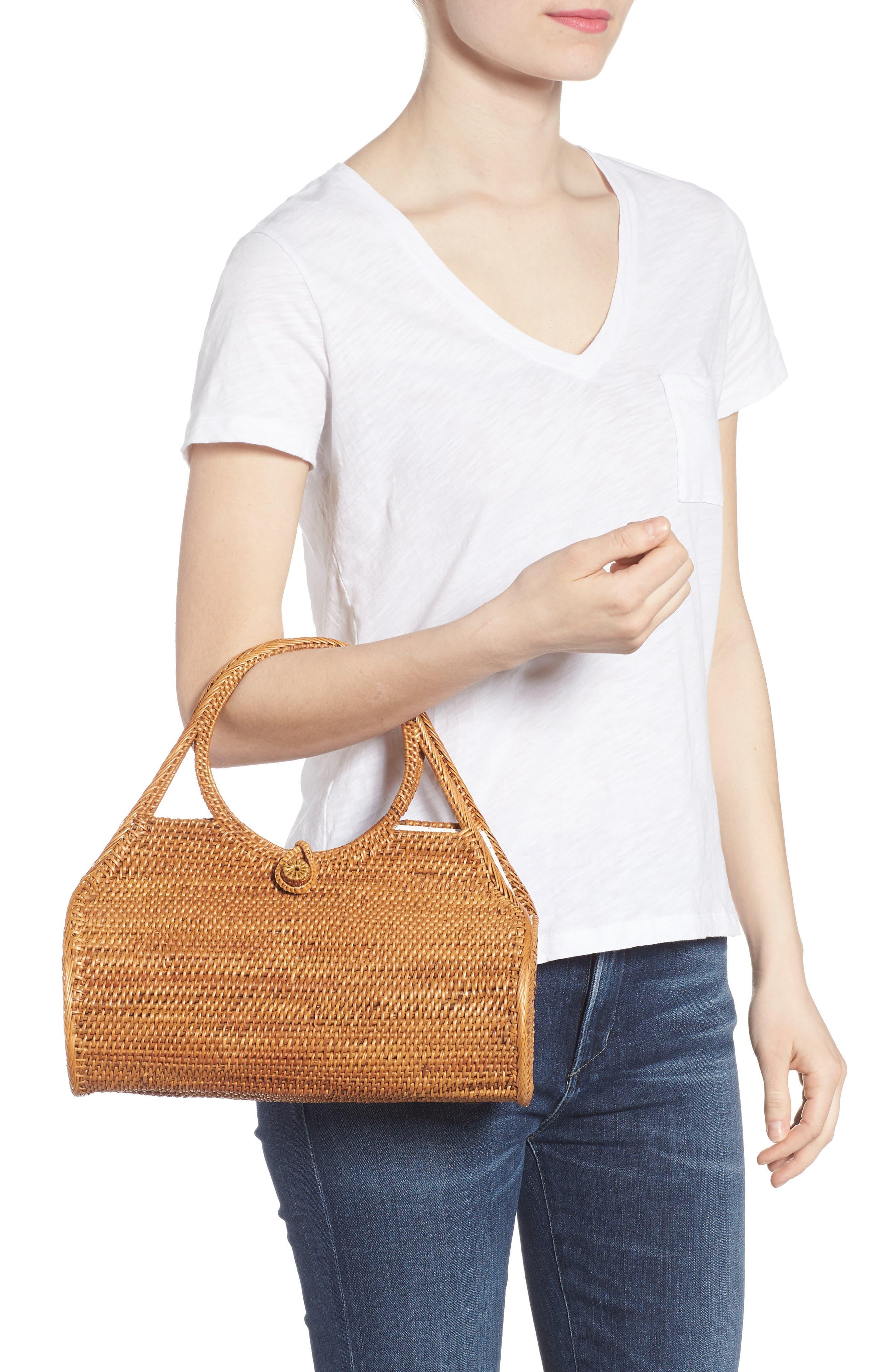 Woven Rattan Handbag,                             Alternate thumbnail 2, color,                             Tan