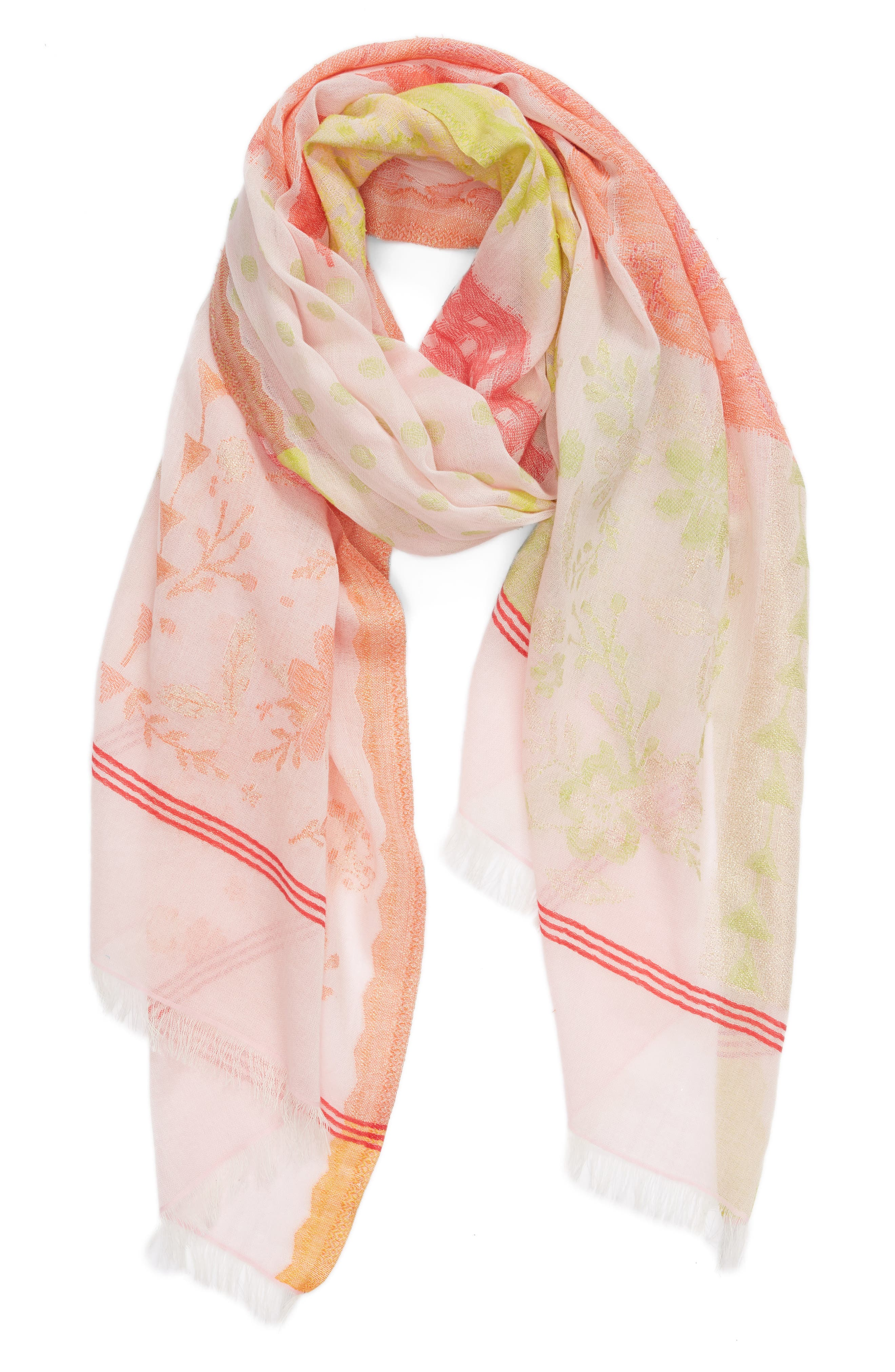 Patchwork Print Cotton Scarf,                             Alternate thumbnail 2, color,                             Pearl Pink