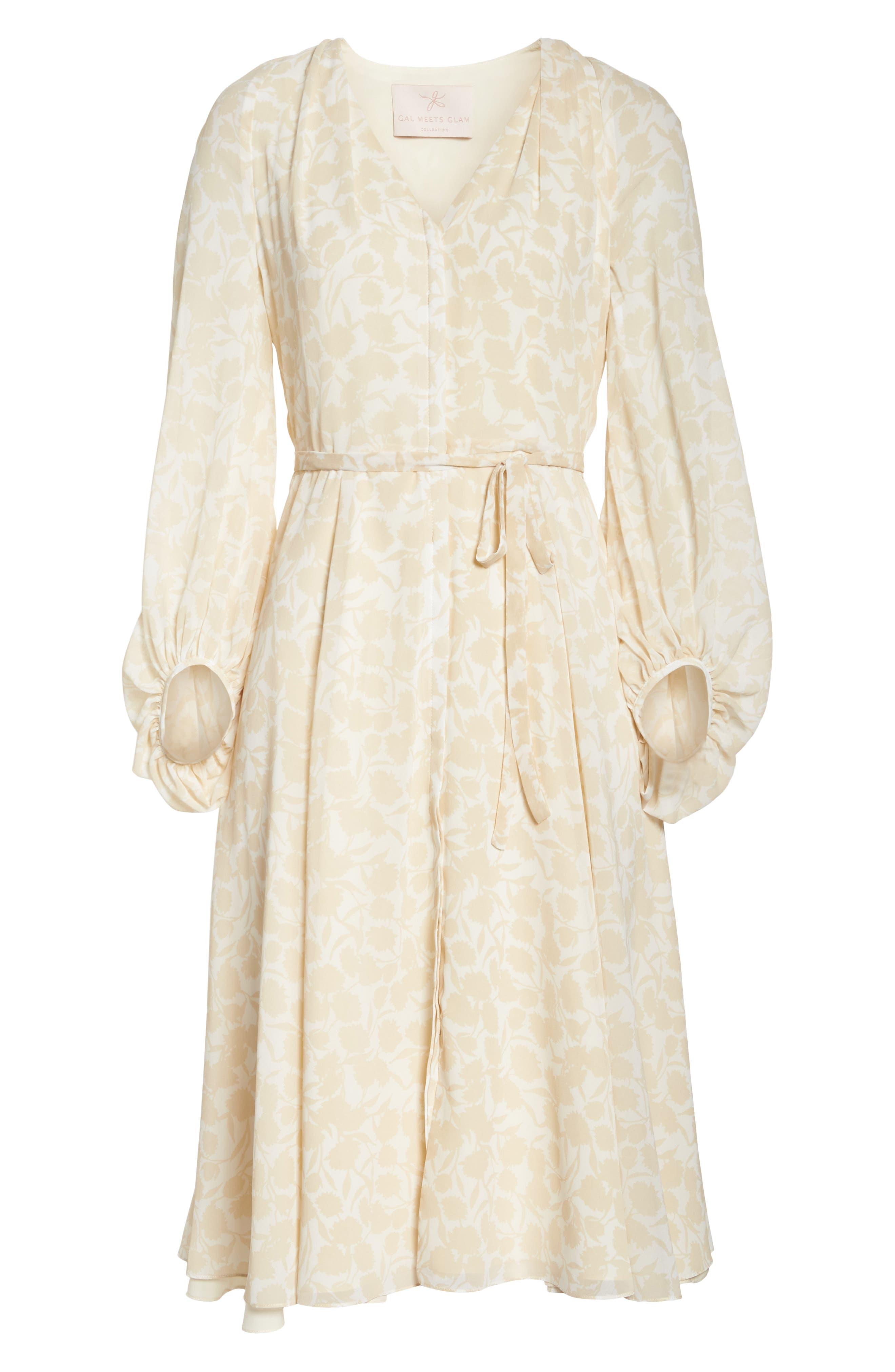 Esther Shadow Branch Chiffon Dress,                             Alternate thumbnail 8, color,                             Cream Combo