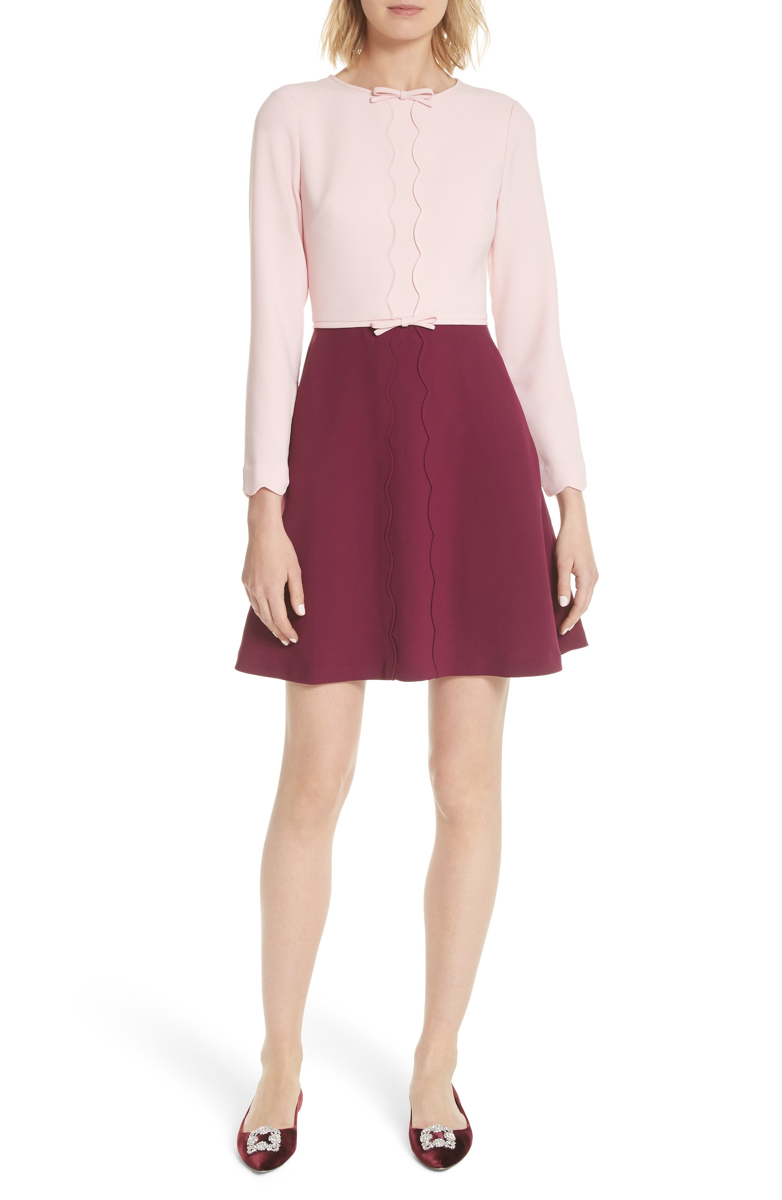Scalloped A-Line Dress,                             Main thumbnail 1, color,                             Dusky Pink