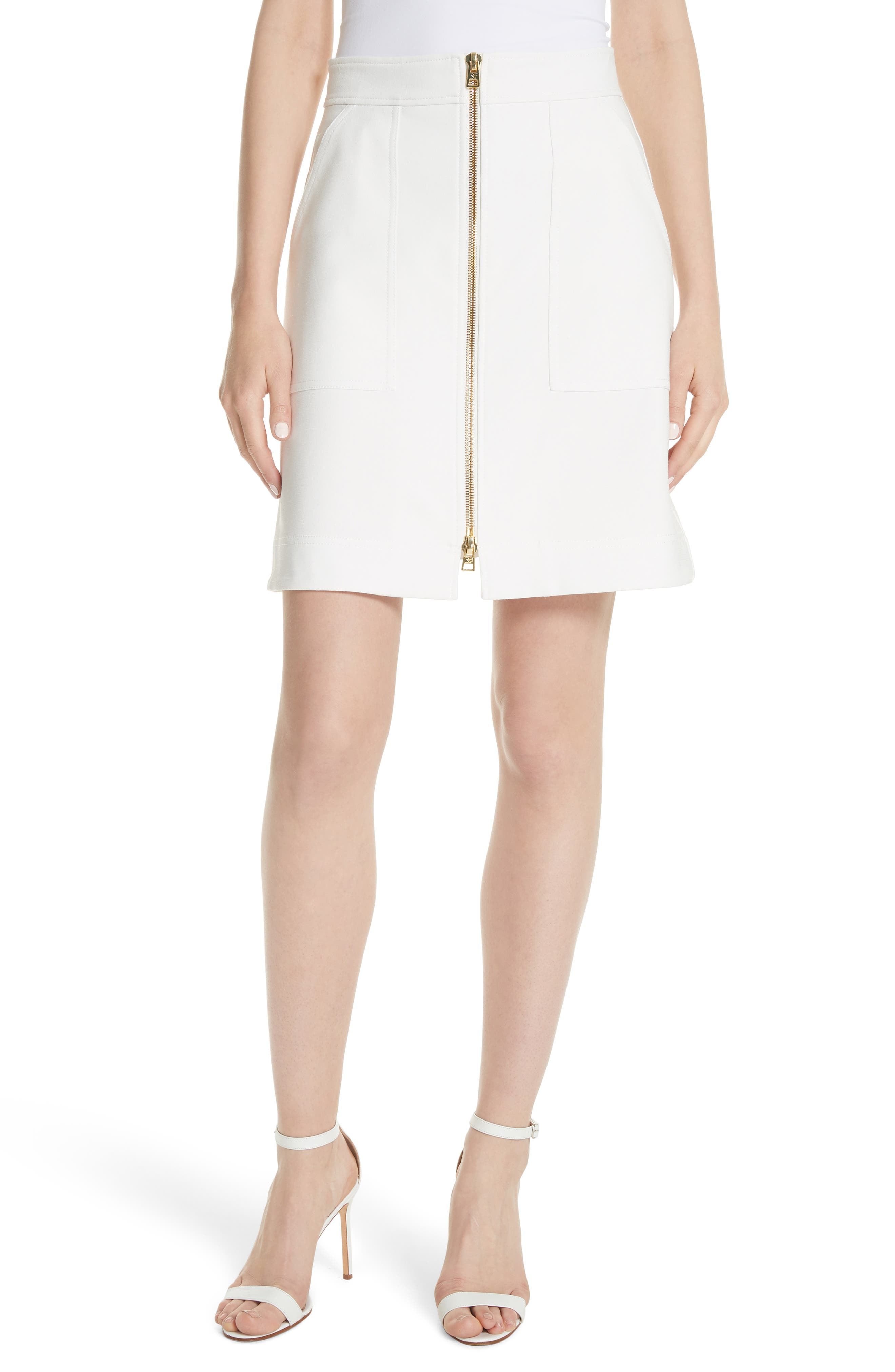 Patch Pocket Miniskirt,                         Main,                         color, White