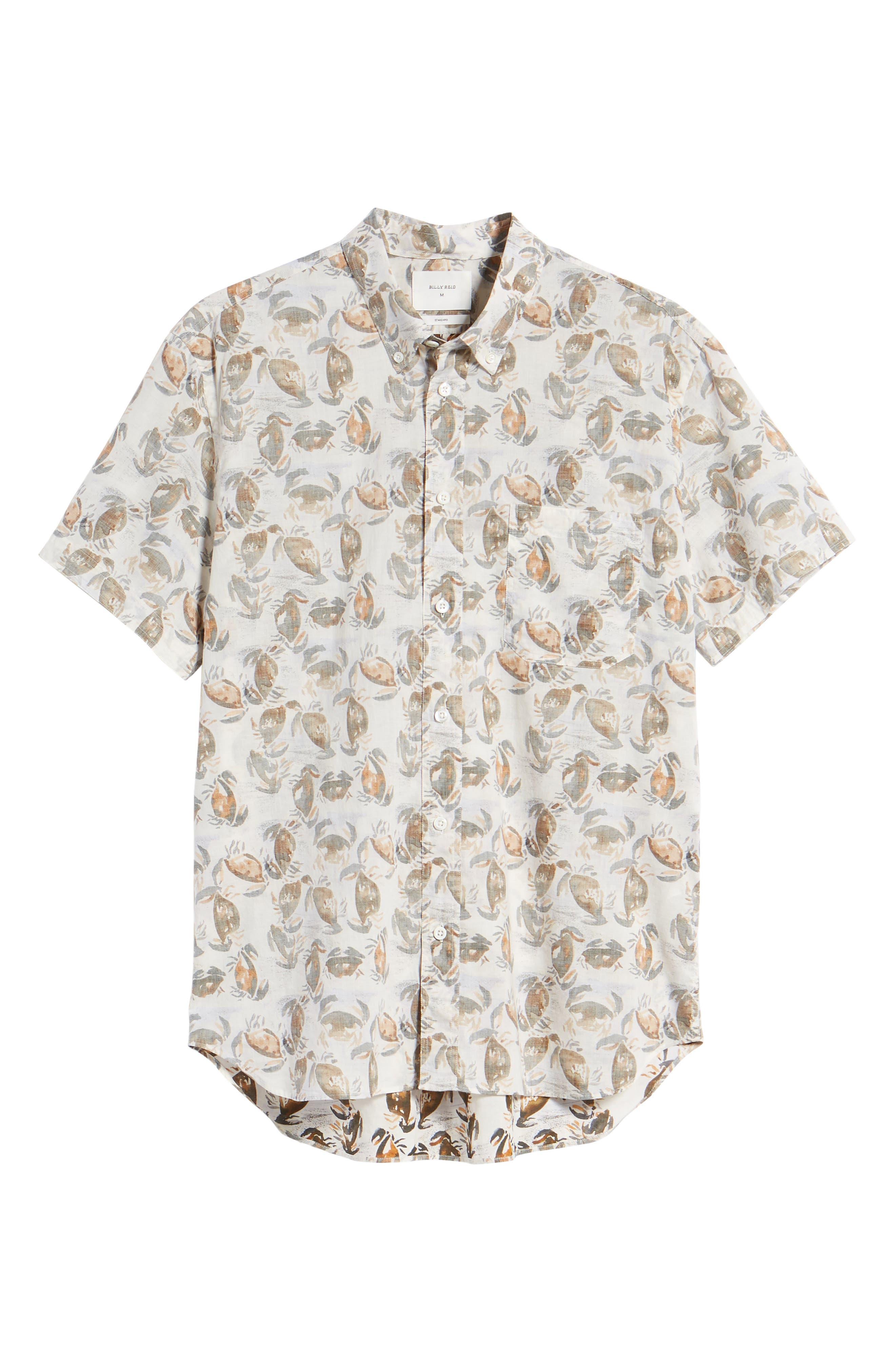 Tuscumbia Standard Fit Short Sleeve Sport Shirt,                             Alternate thumbnail 6, color,                             Cream Crab