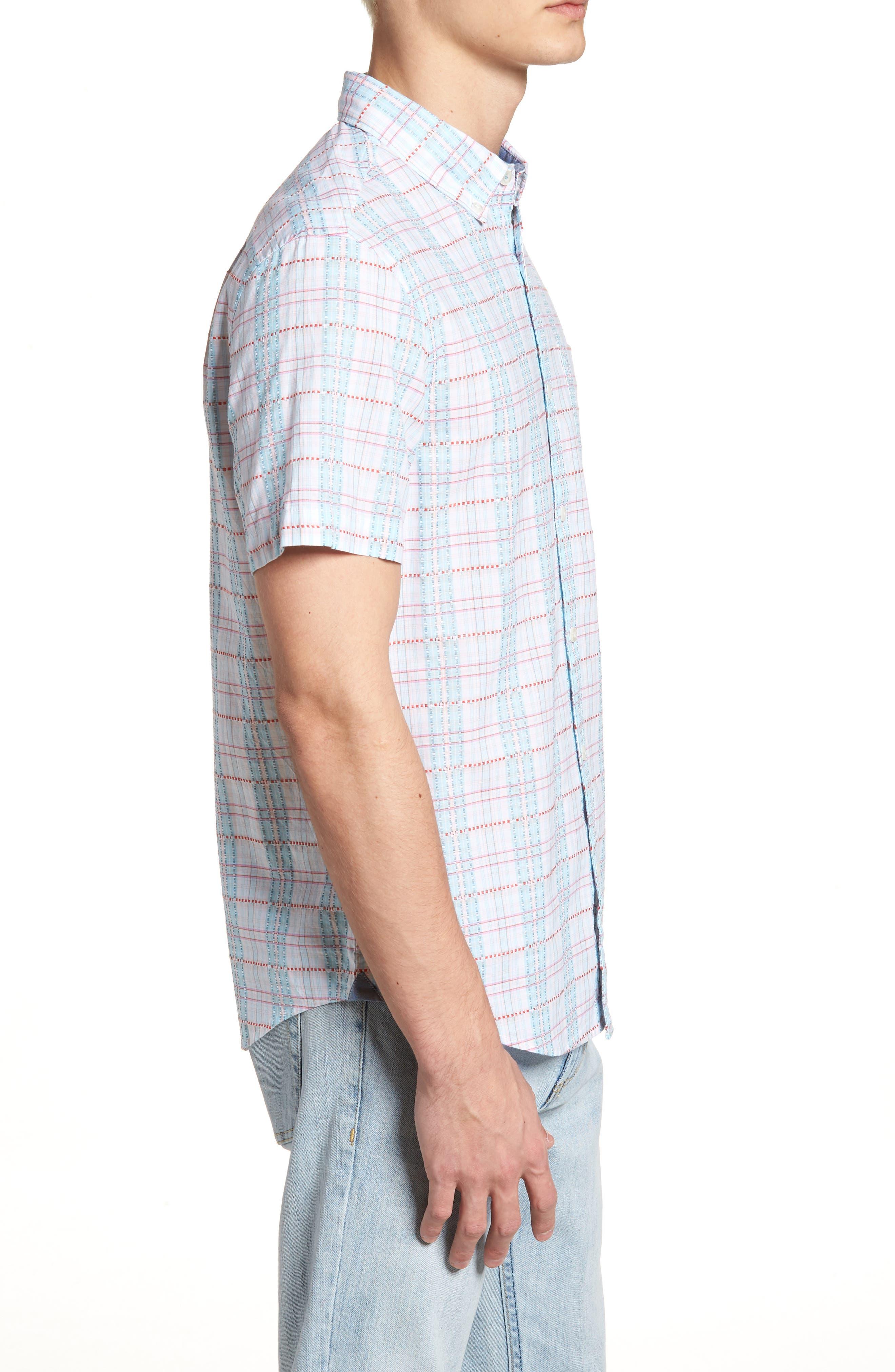 Dobby Plaid Woven Shirt,                             Alternate thumbnail 3, color,                             Bright White