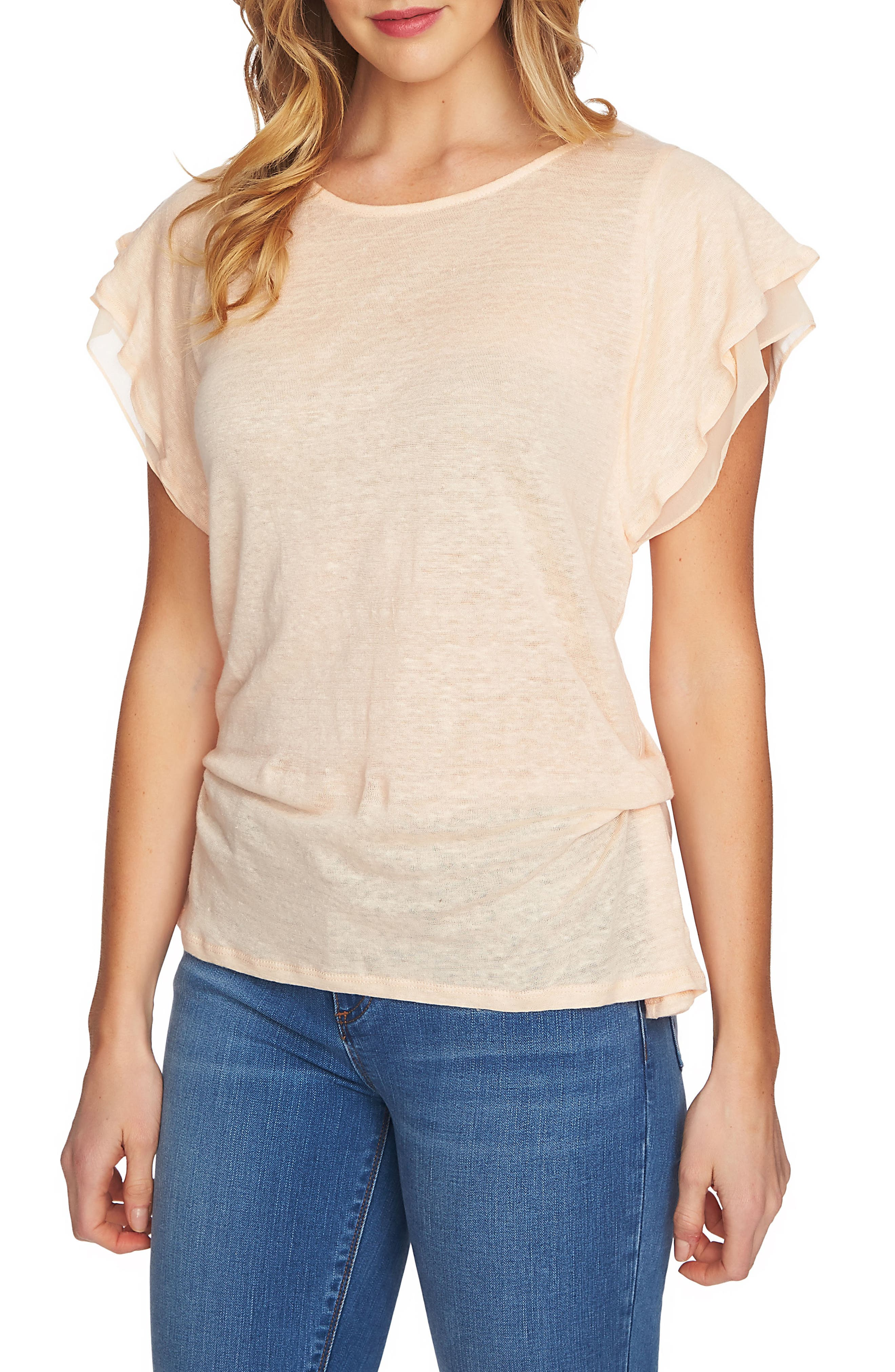 1.STATE Cinched Seam Linen Tee