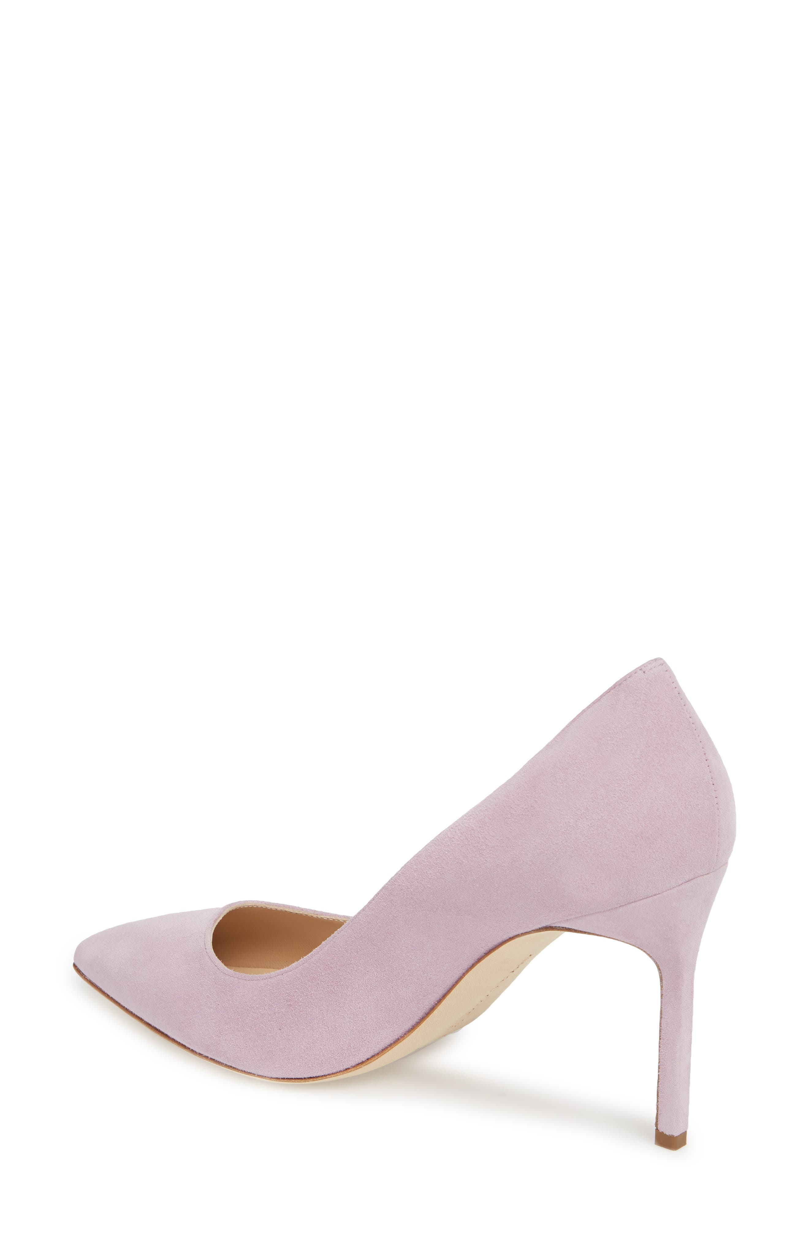 BB Pointy Toe Pump,                             Alternate thumbnail 2, color,                             Lavender Suede
