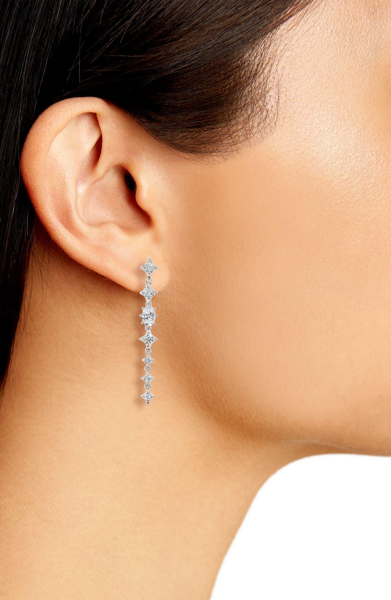 Boho Linear Drop Earrings,                             Alternate thumbnail 2, color,                             Silver/ Clear