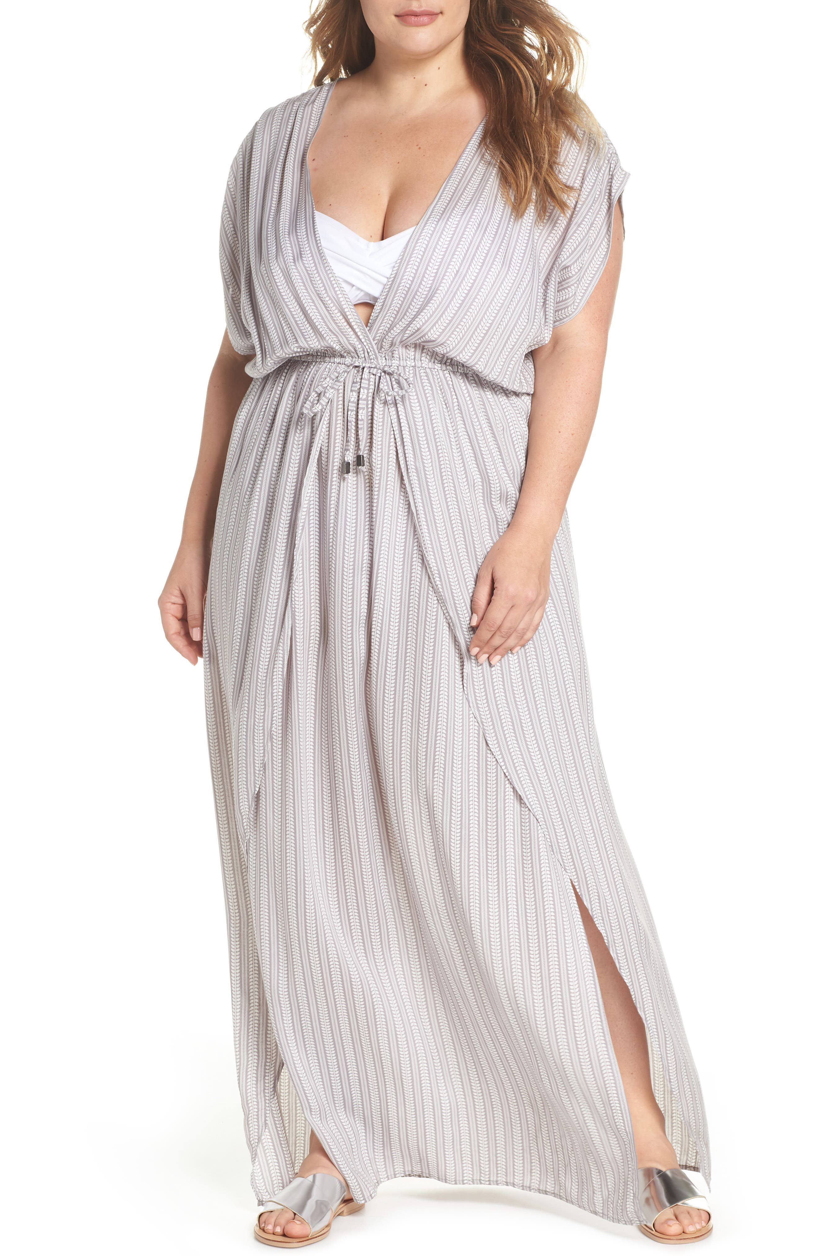Wrap Maxi Cover-Up Dress,                         Main,                         color, Makoto Grey