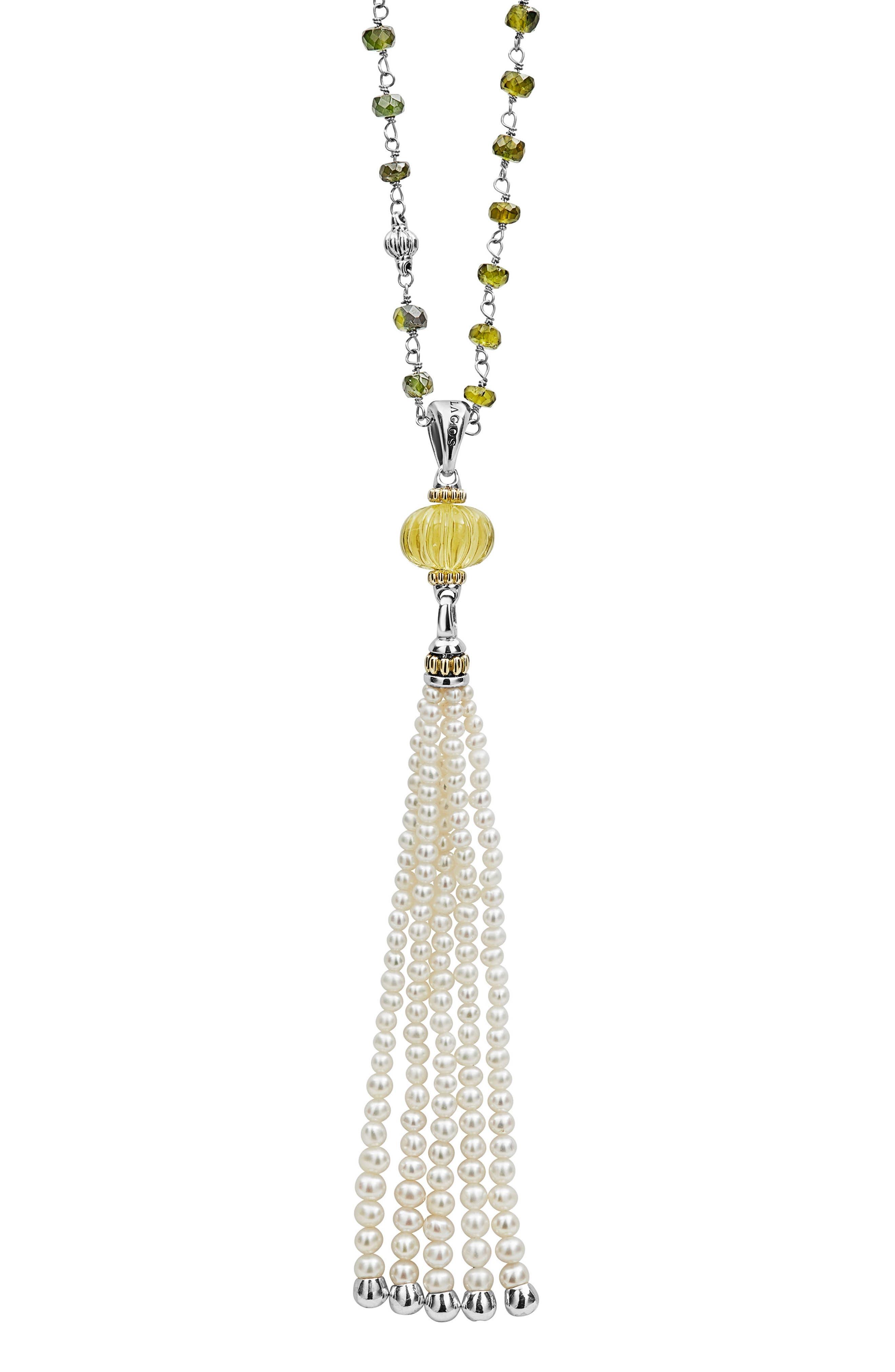 Caviar Forever Gemstone Tassel Pendant Necklace,                             Alternate thumbnail 4, color,                             Silver/ Olive Quartz