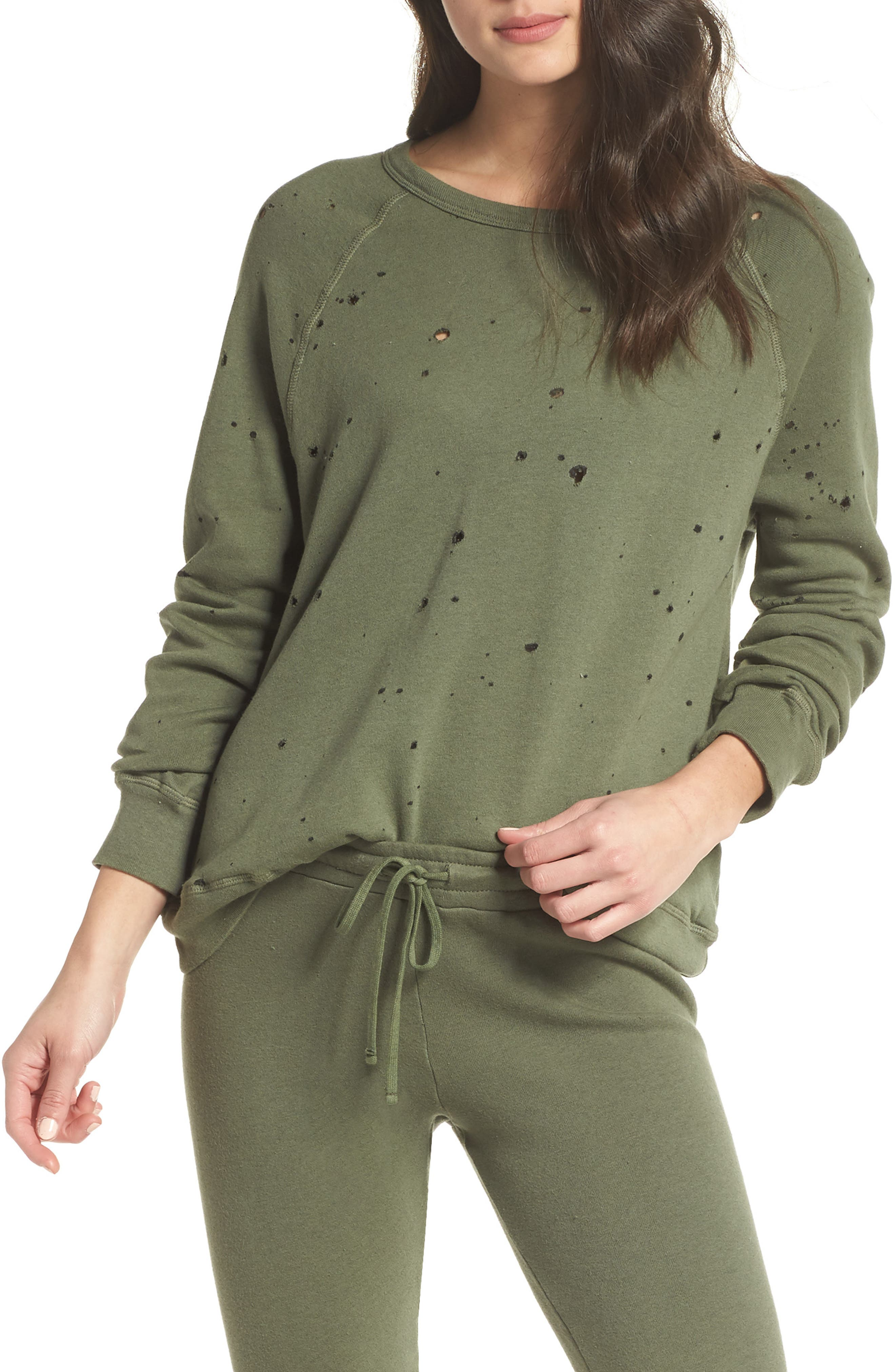 Destroyed Lounge Sweatshirt,                             Main thumbnail 1, color,                             Palm