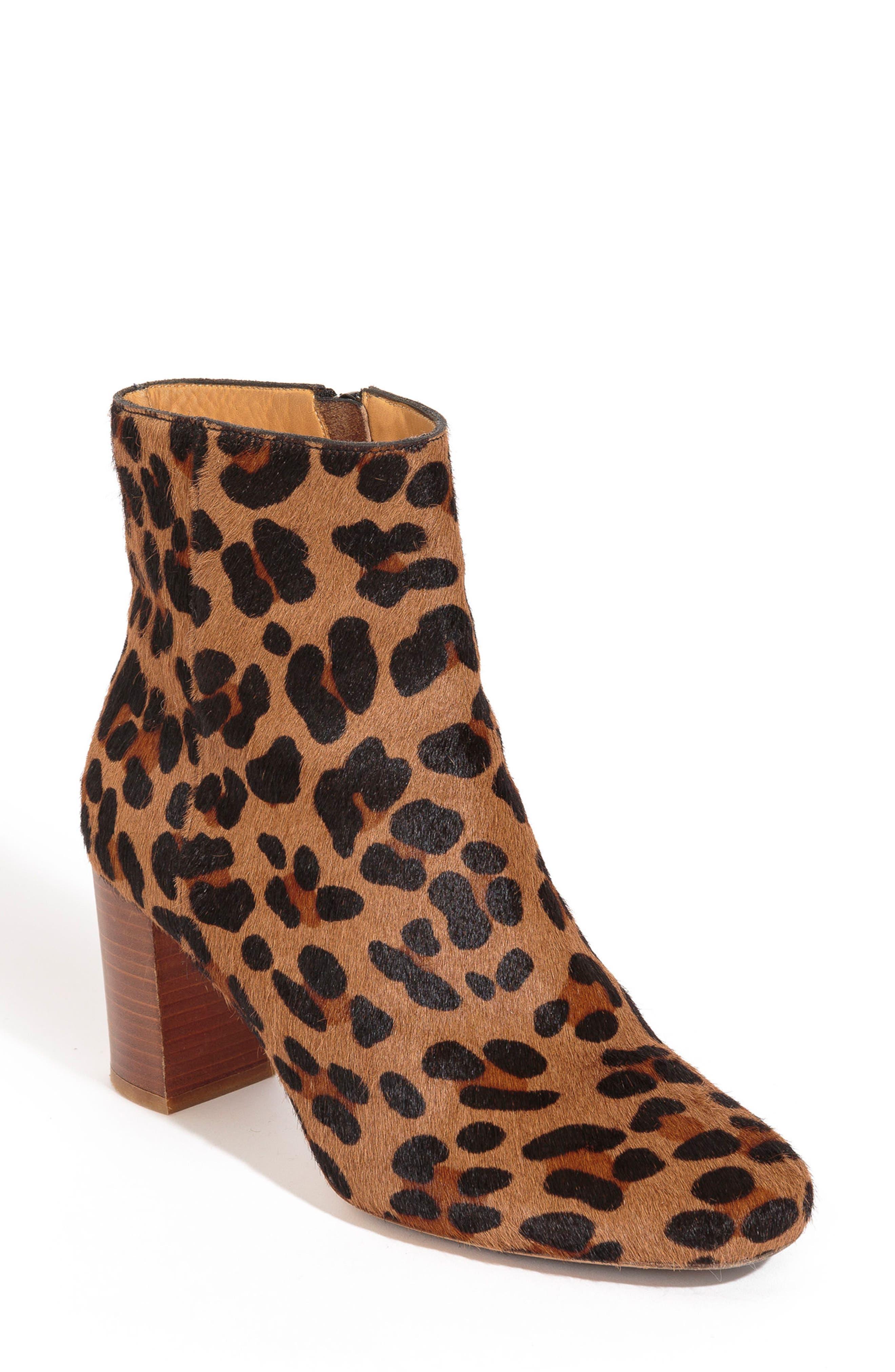 Léa Genuine Calf Hair Bootie,                         Main,                         color, Leopard Print Leather