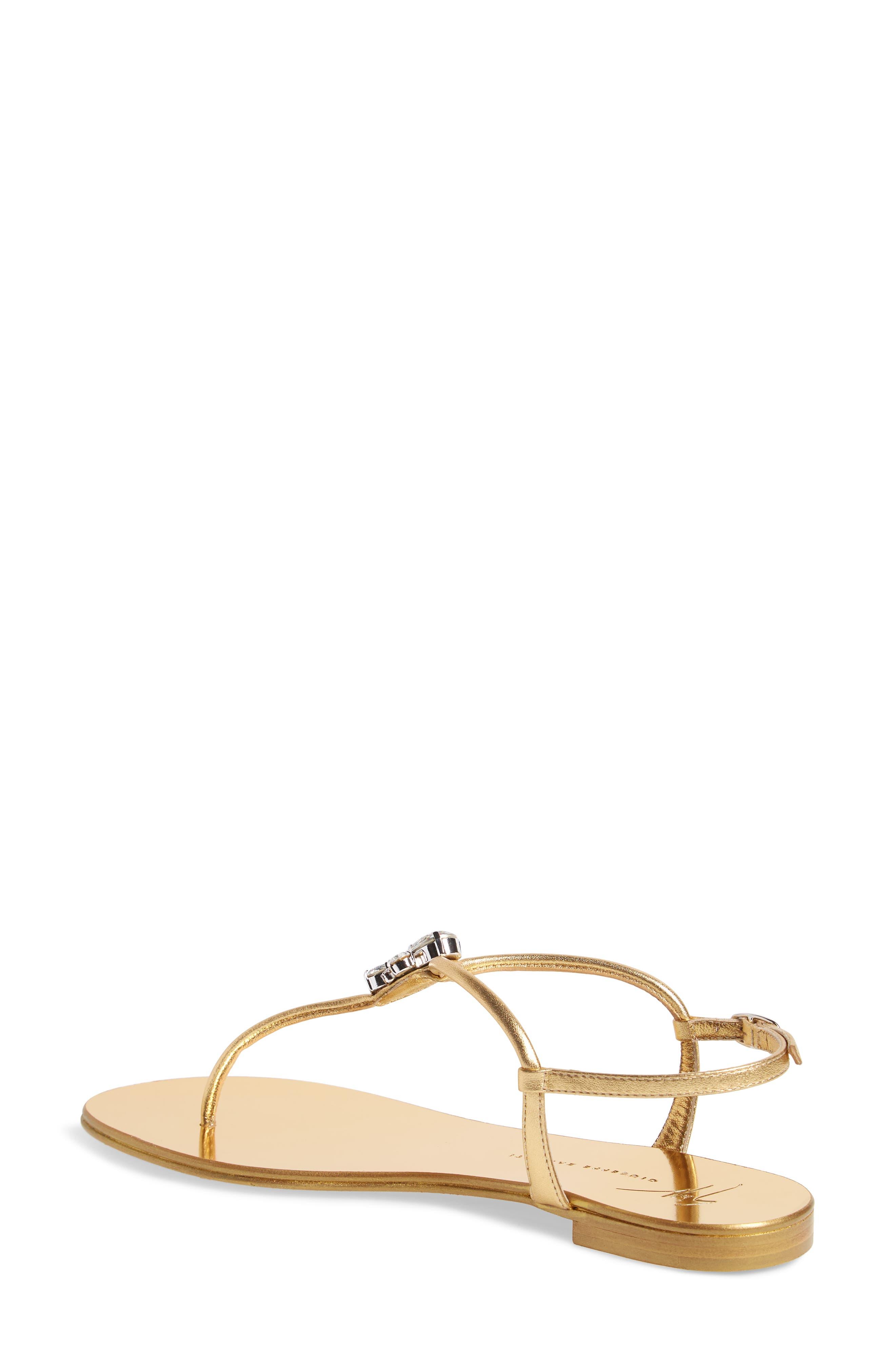 Crystal T-Strap Sandal,                             Alternate thumbnail 2, color,                             Gold