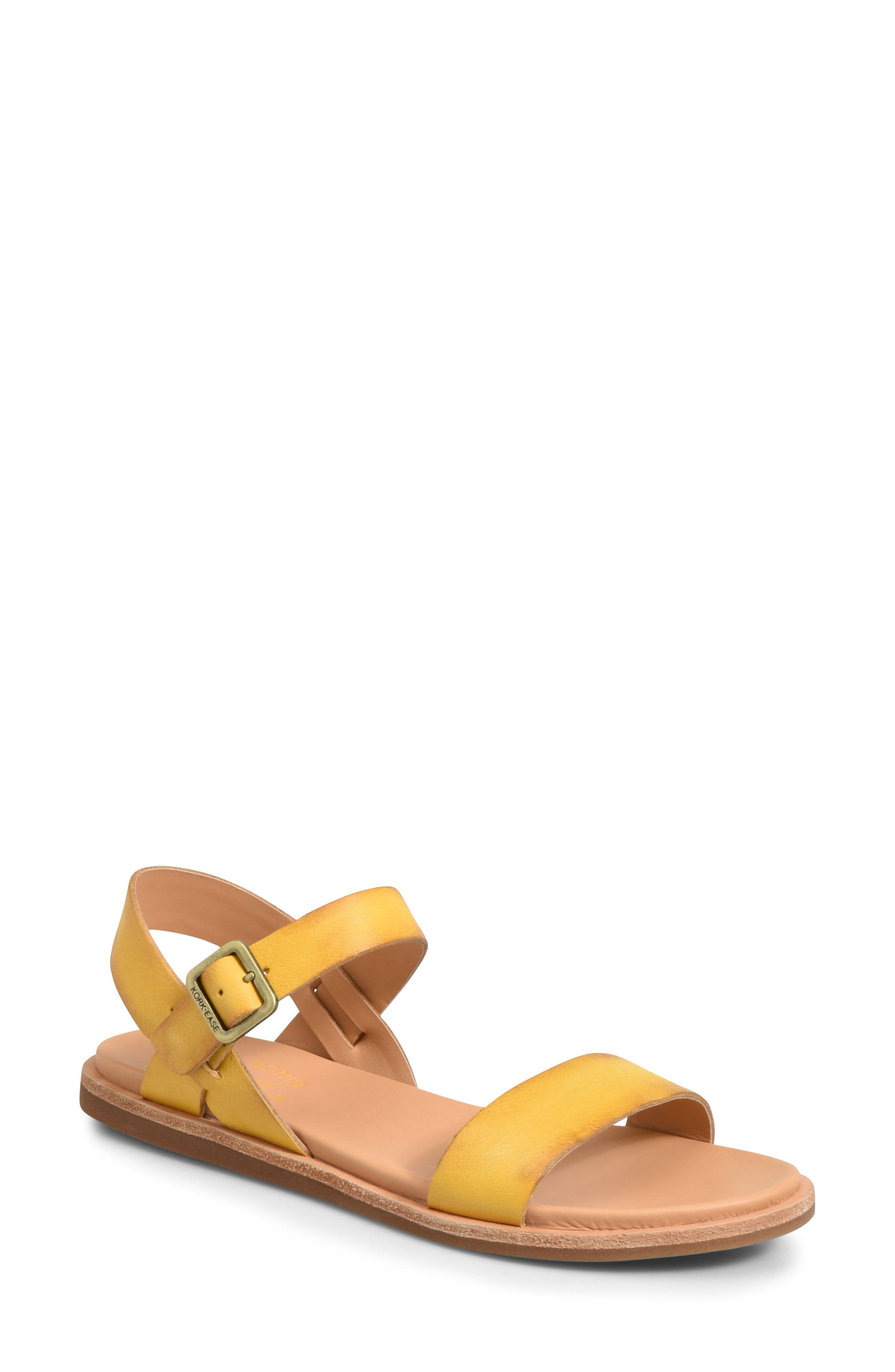 Yucca Sandal,                         Main,                         color, Yellow Leather