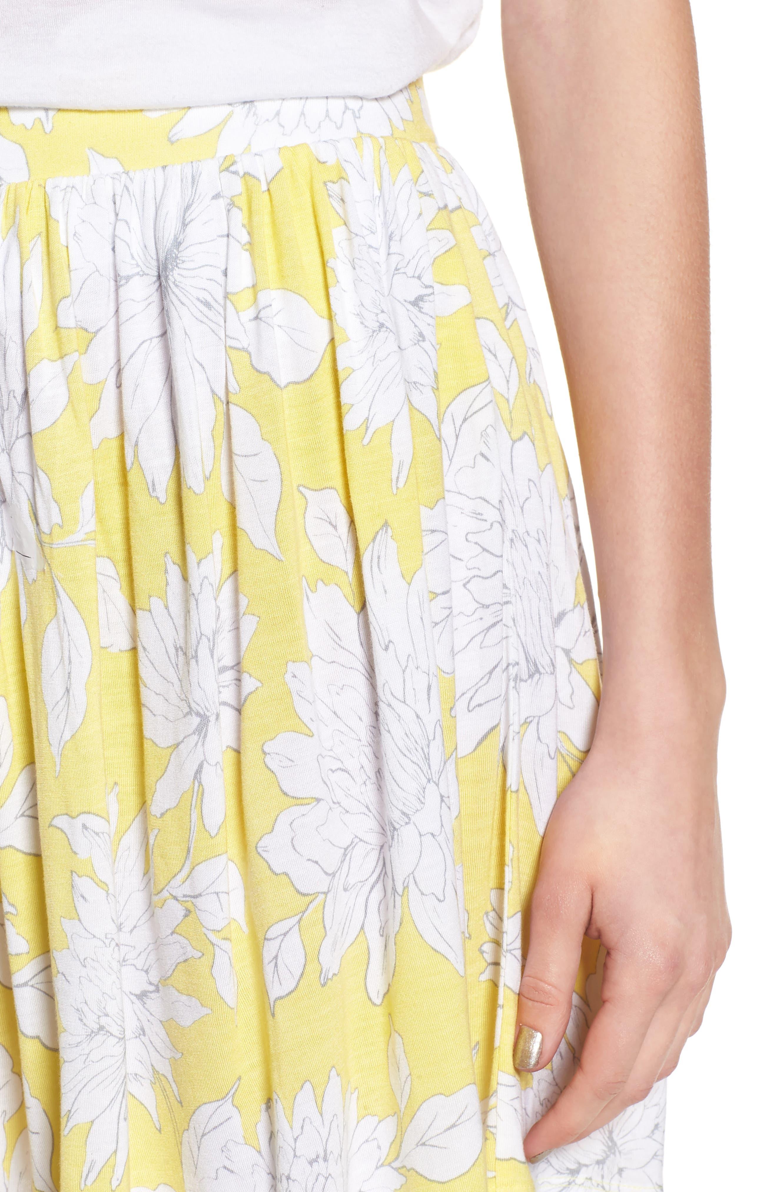 Print Wide Leg Shorts,                             Alternate thumbnail 4, color,                             Yellow Glow Grunge Floral