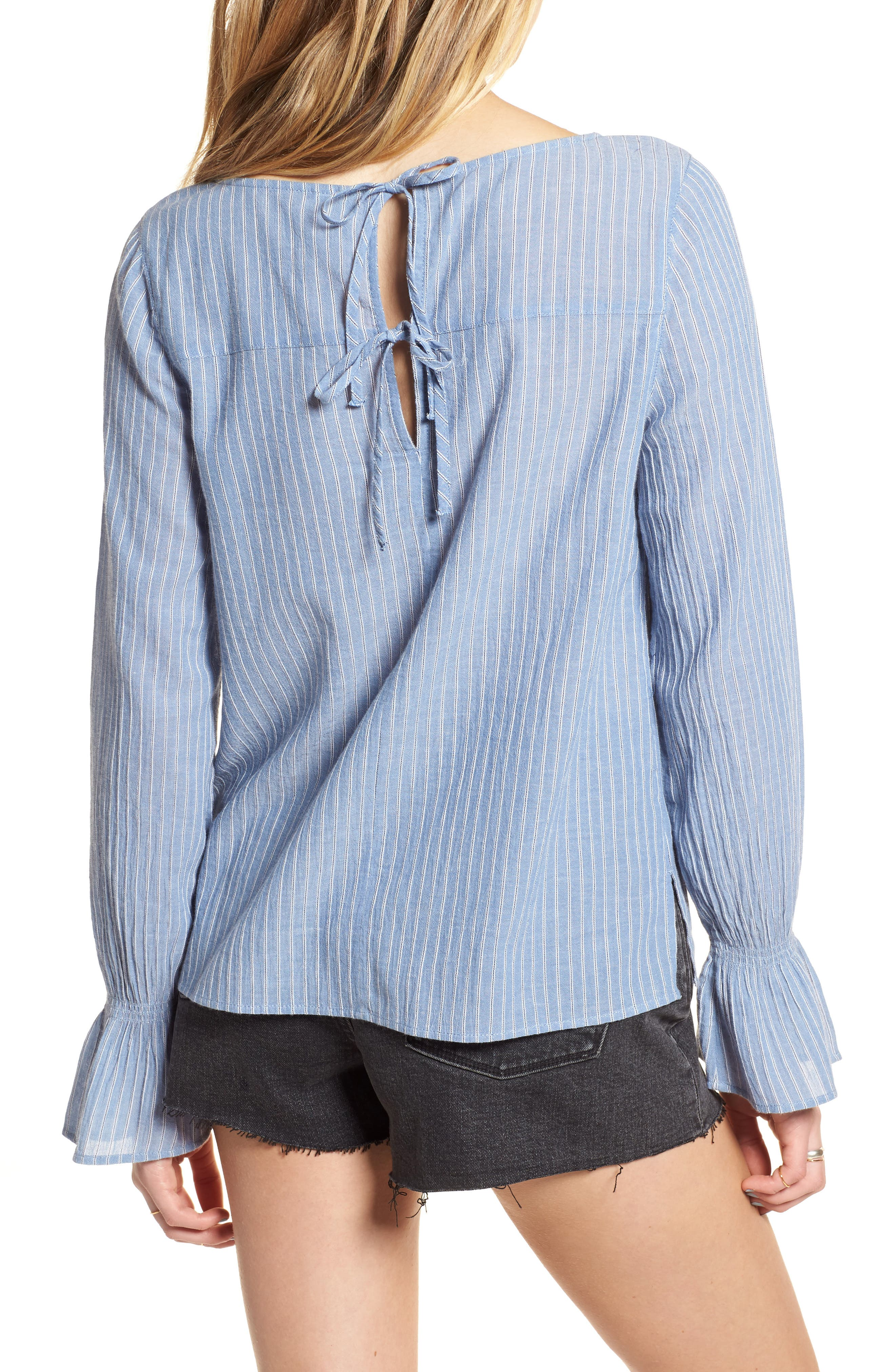 Tie Back Top,                             Alternate thumbnail 2, color,                             Blue Airy Stripe