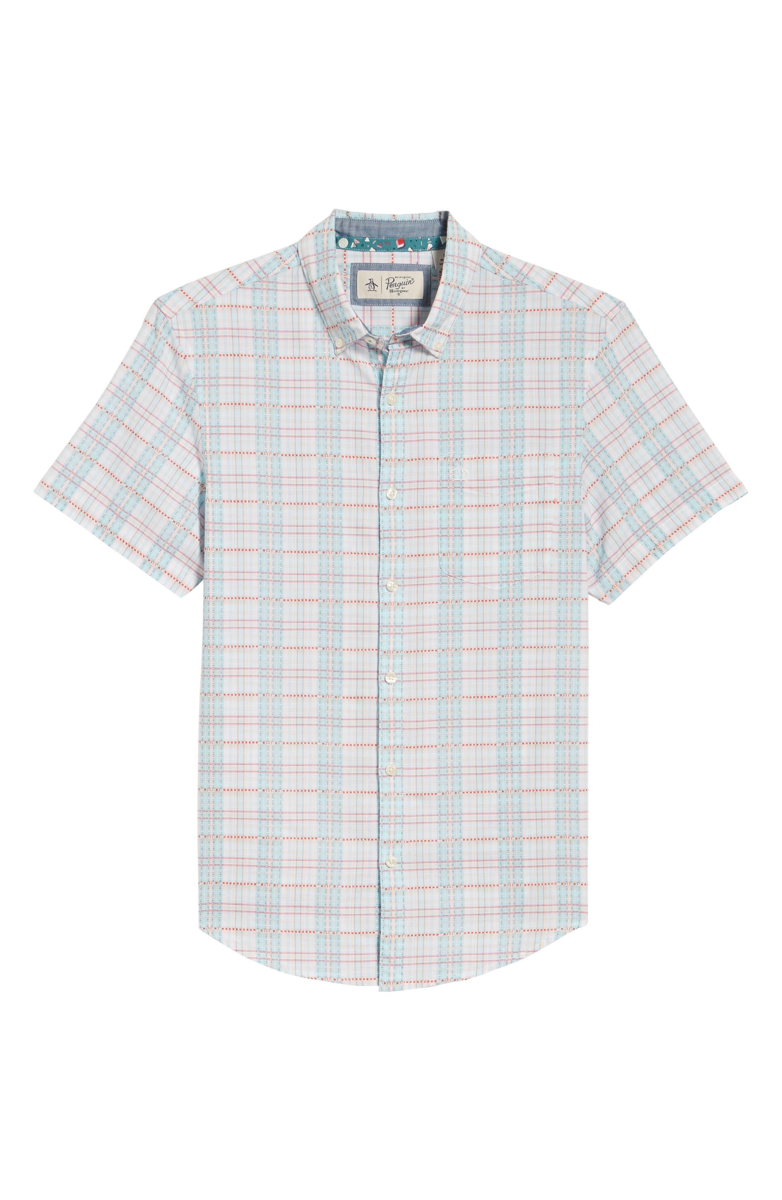 Dobby Plaid Woven Shirt,                             Alternate thumbnail 6, color,                             Bright White