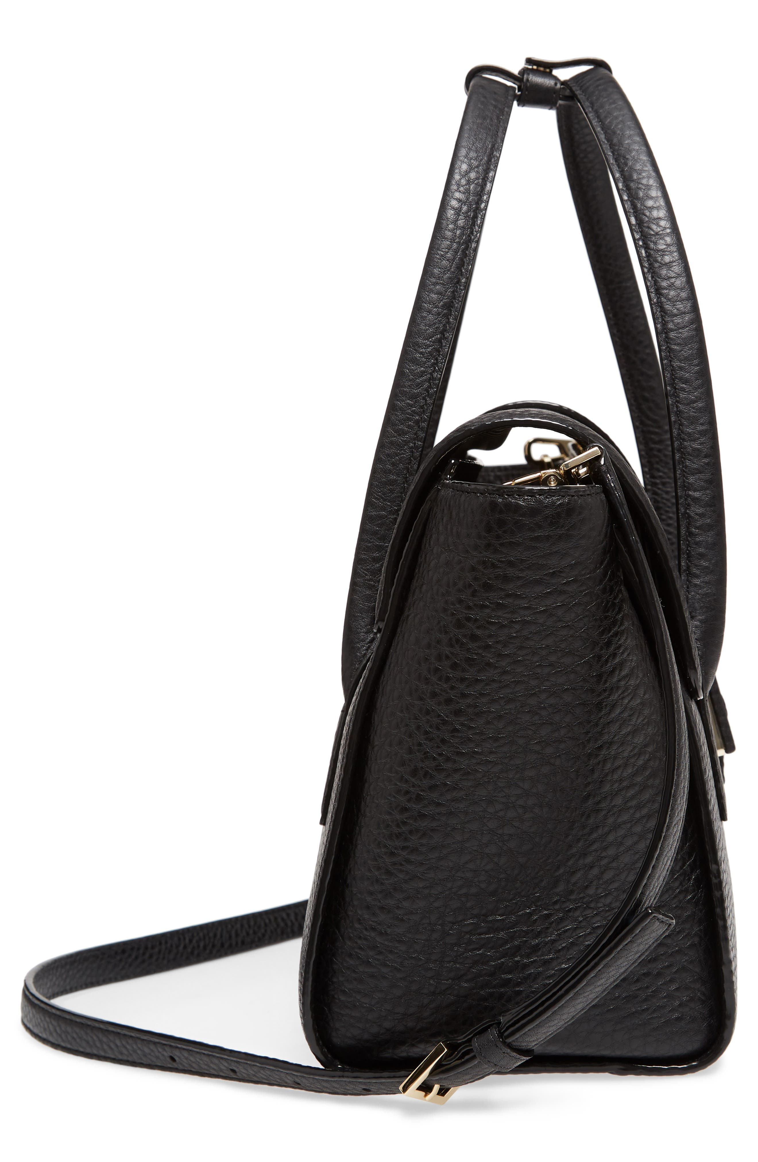 carlyle street - alexa leather satchel,                             Alternate thumbnail 5, color,                             Black