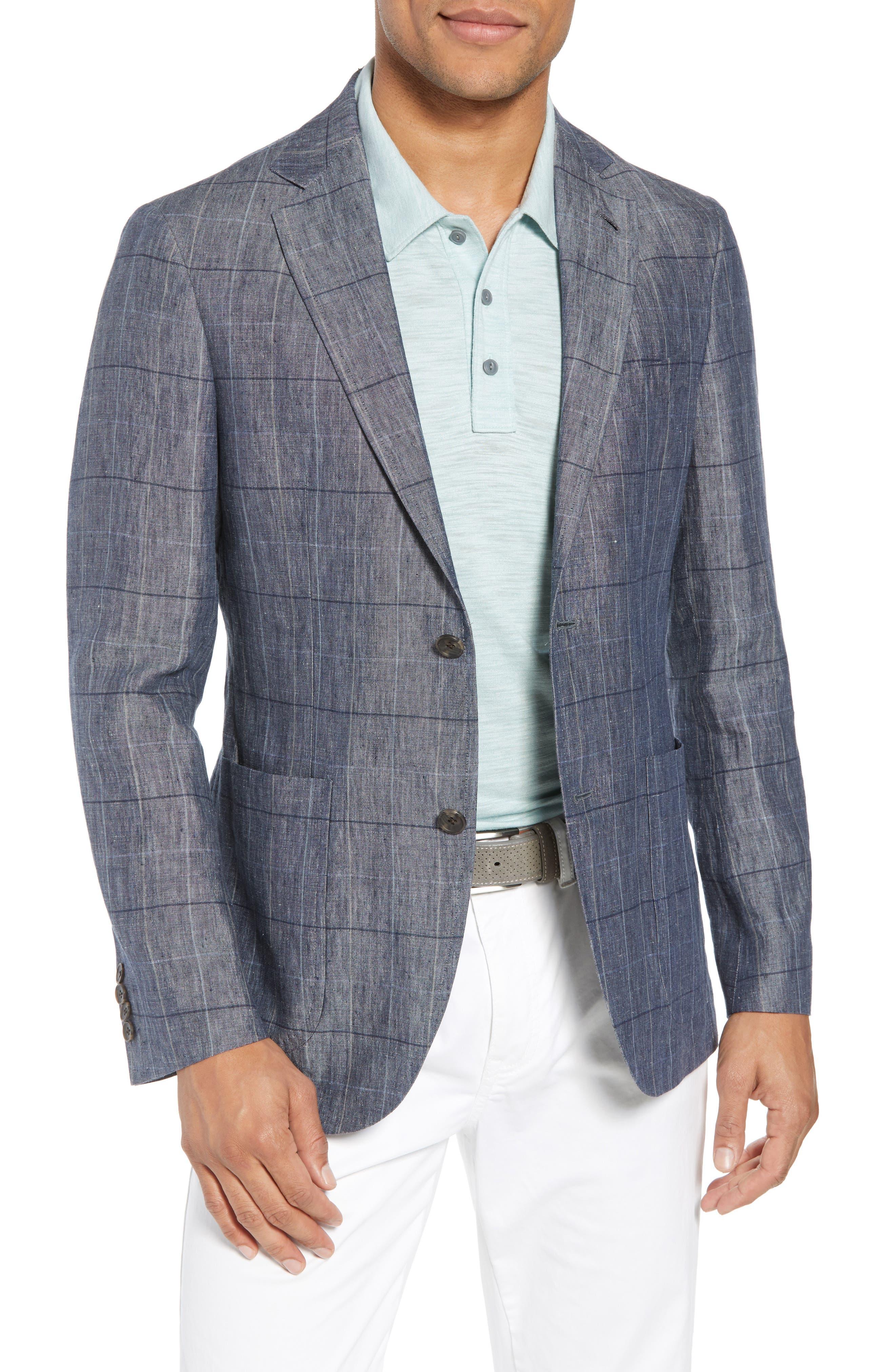 Vantage Trim Fit Windowpane Linen Sport Coat,                         Main,                         color, Blue Graphite