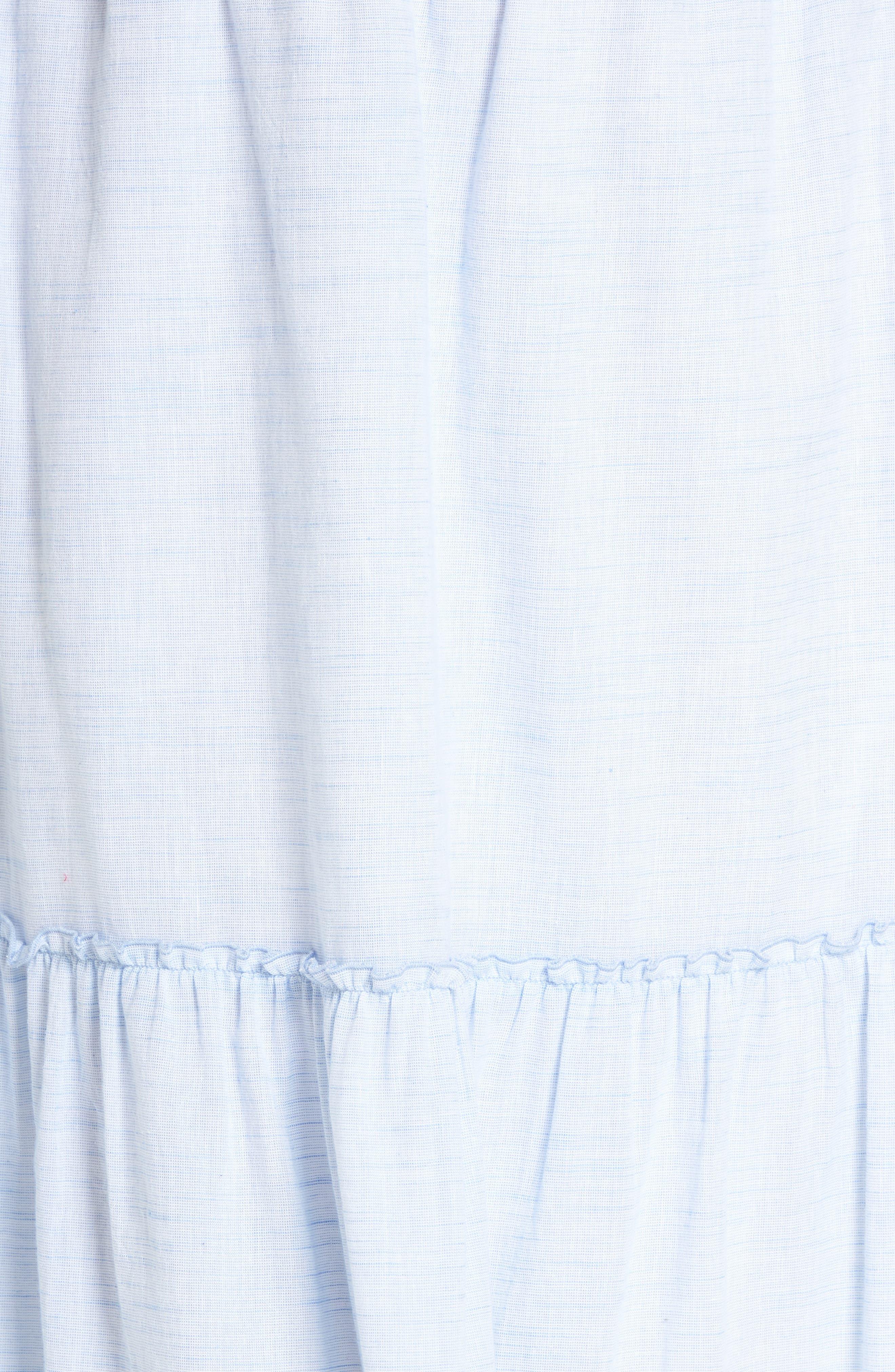 Ruffle Hem Maxi Skirt,                             Alternate thumbnail 5, color,                             Blue- White Pattern