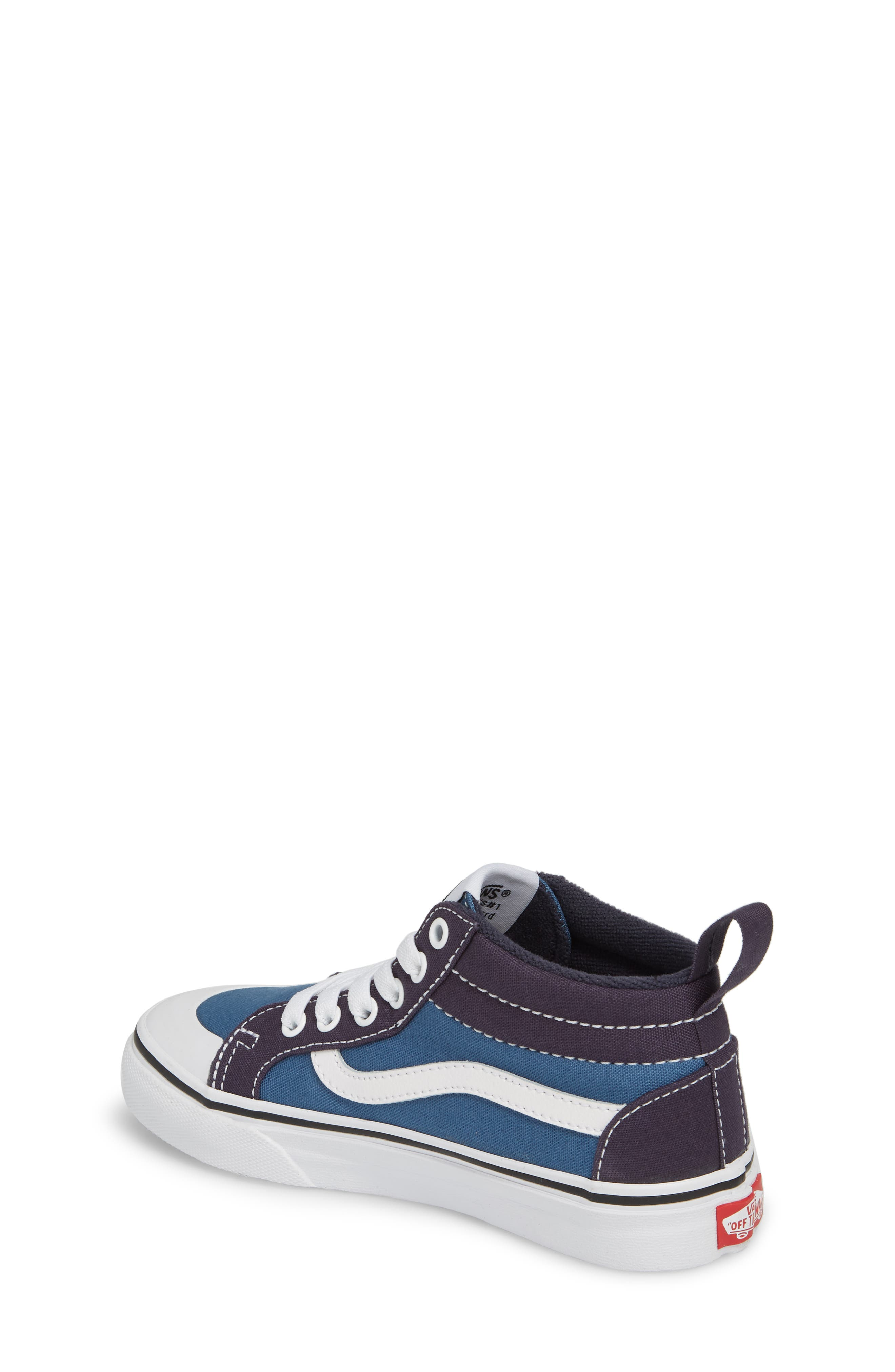 Racer Mid Elastic Lace Sneaker,                             Alternate thumbnail 2, color,                             Navy/ Navy
