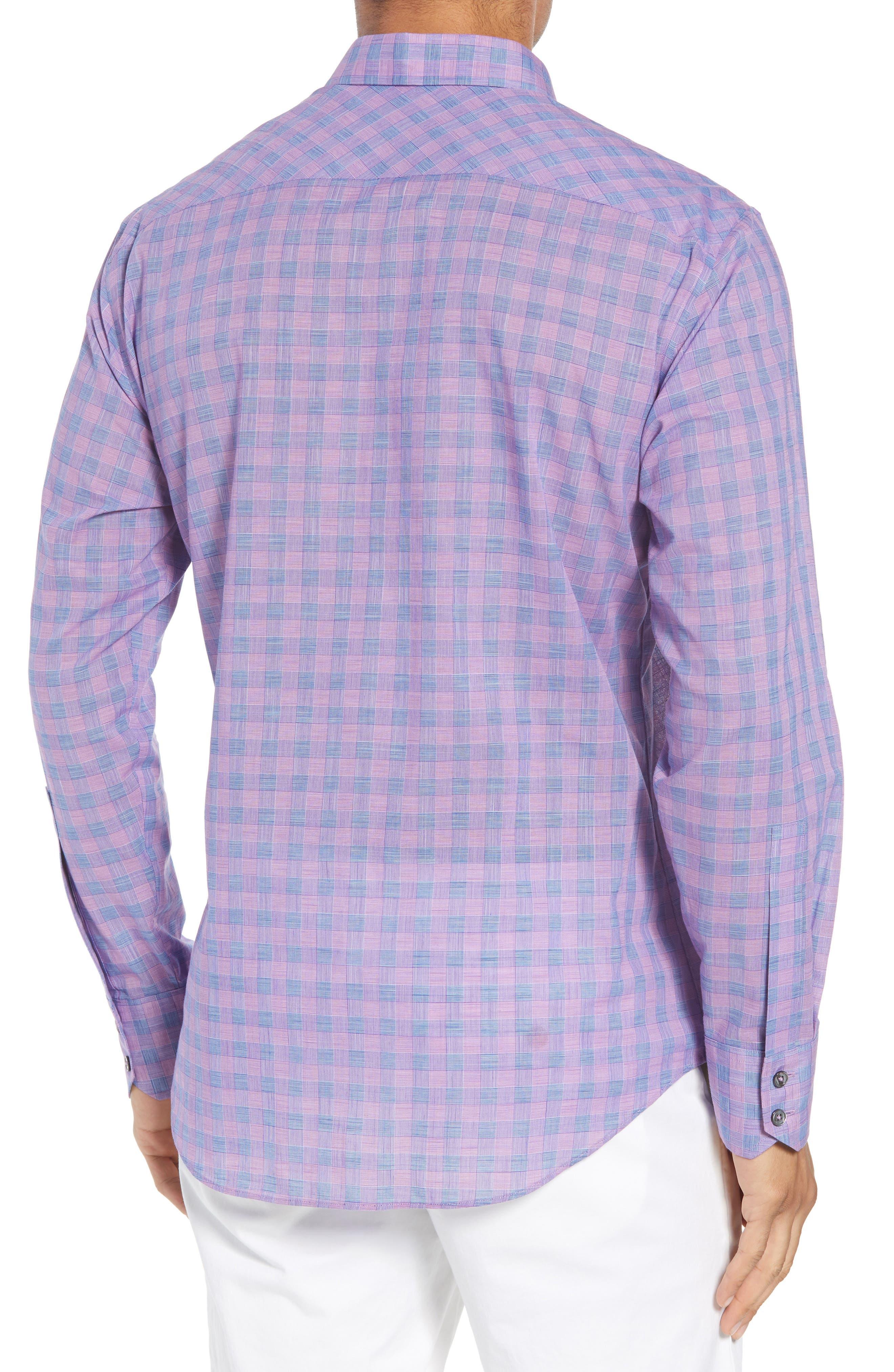 Schwantes Plaid Sport Shirt,                             Alternate thumbnail 3, color,                             Purple
