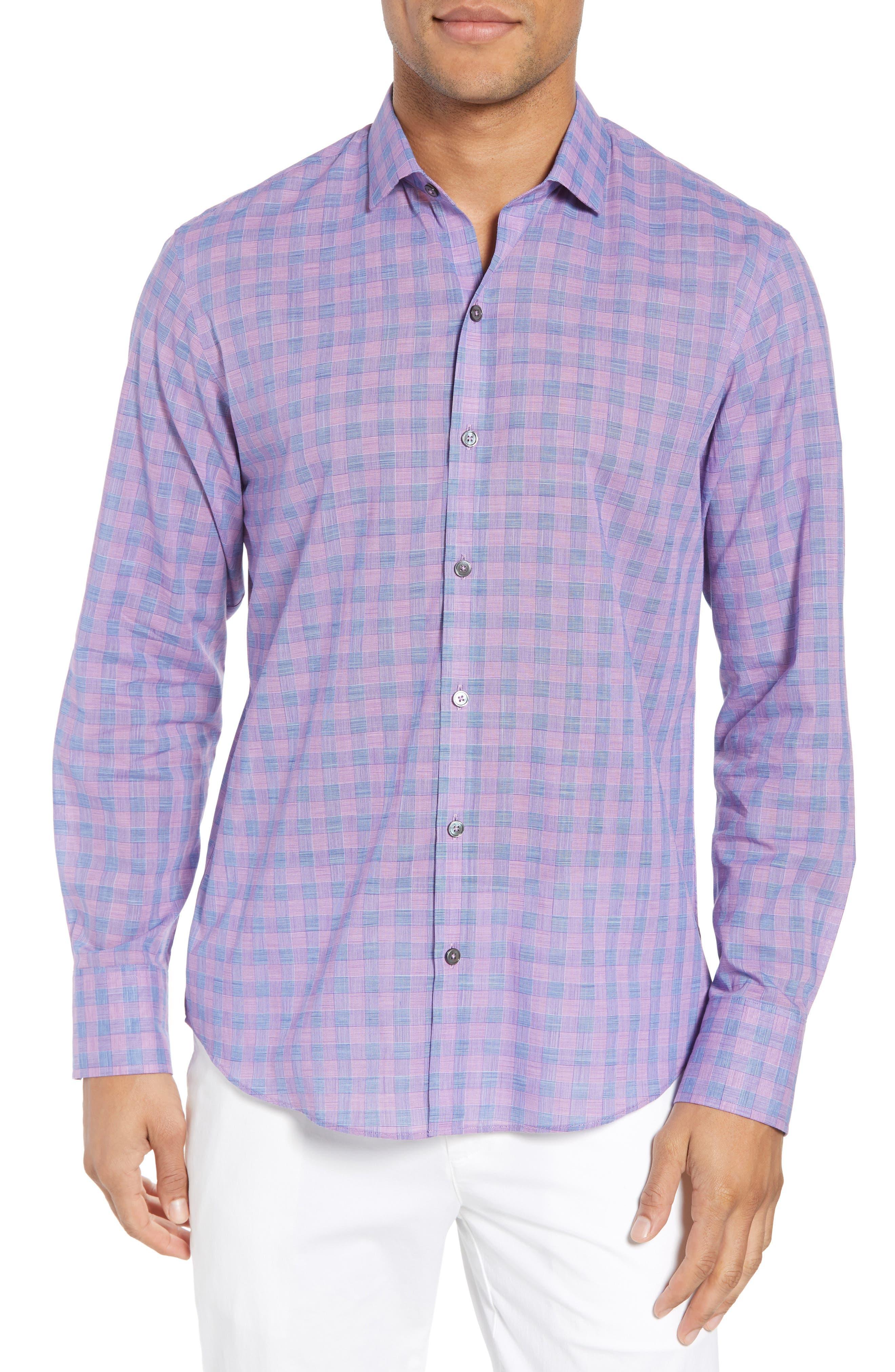Schwantes Plaid Sport Shirt,                         Main,                         color, Purple