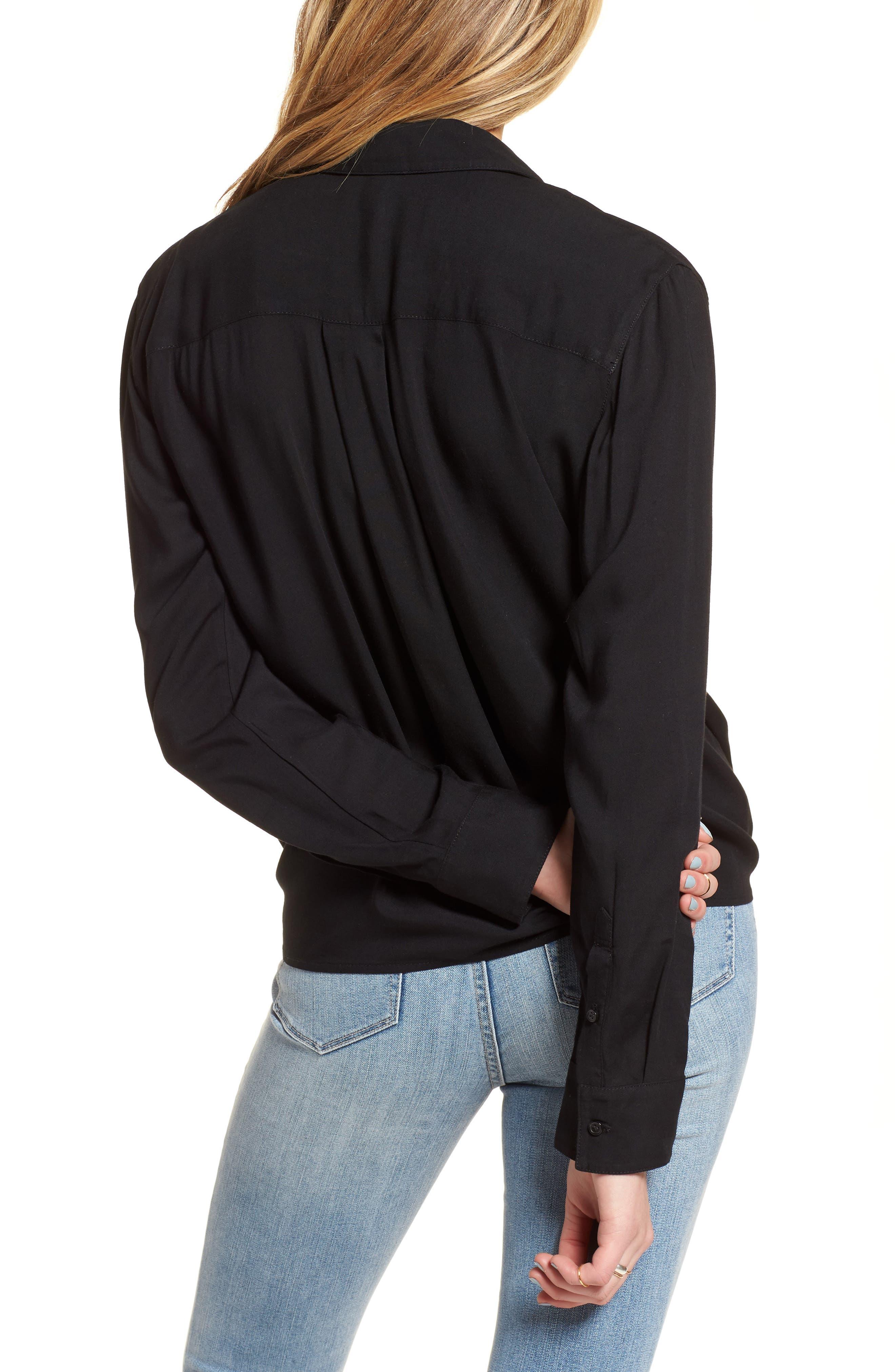 Tie Front Shirt,                             Alternate thumbnail 2, color,                             Black