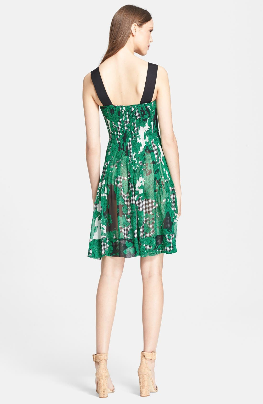 'Karlyn' Pleated Silk Fit & Flare Dress,                             Alternate thumbnail 2, color,                             Toile Collage Green