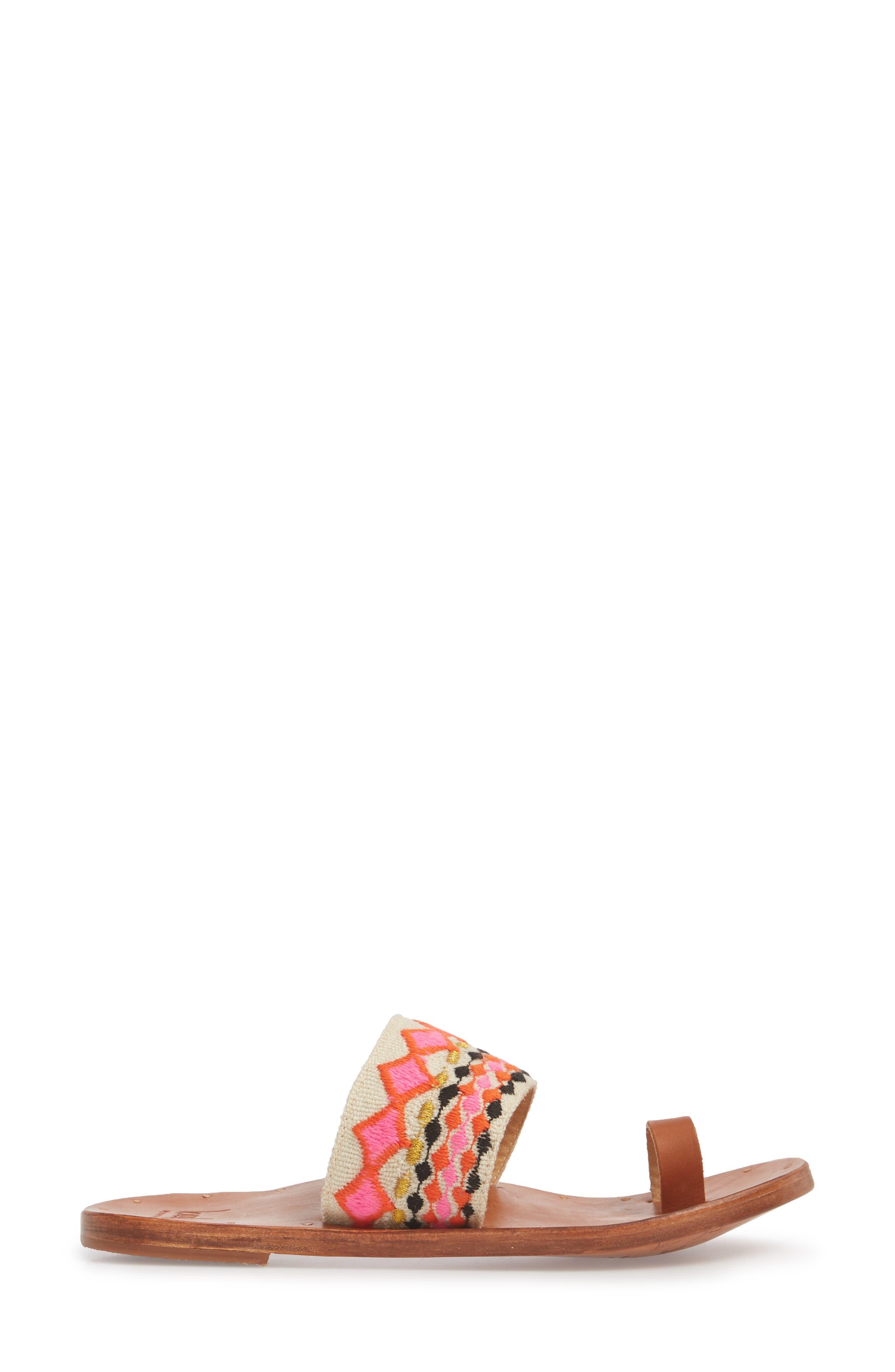 Dove Sandal,                             Alternate thumbnail 3, color,                             Fuschia Multi/ Tan