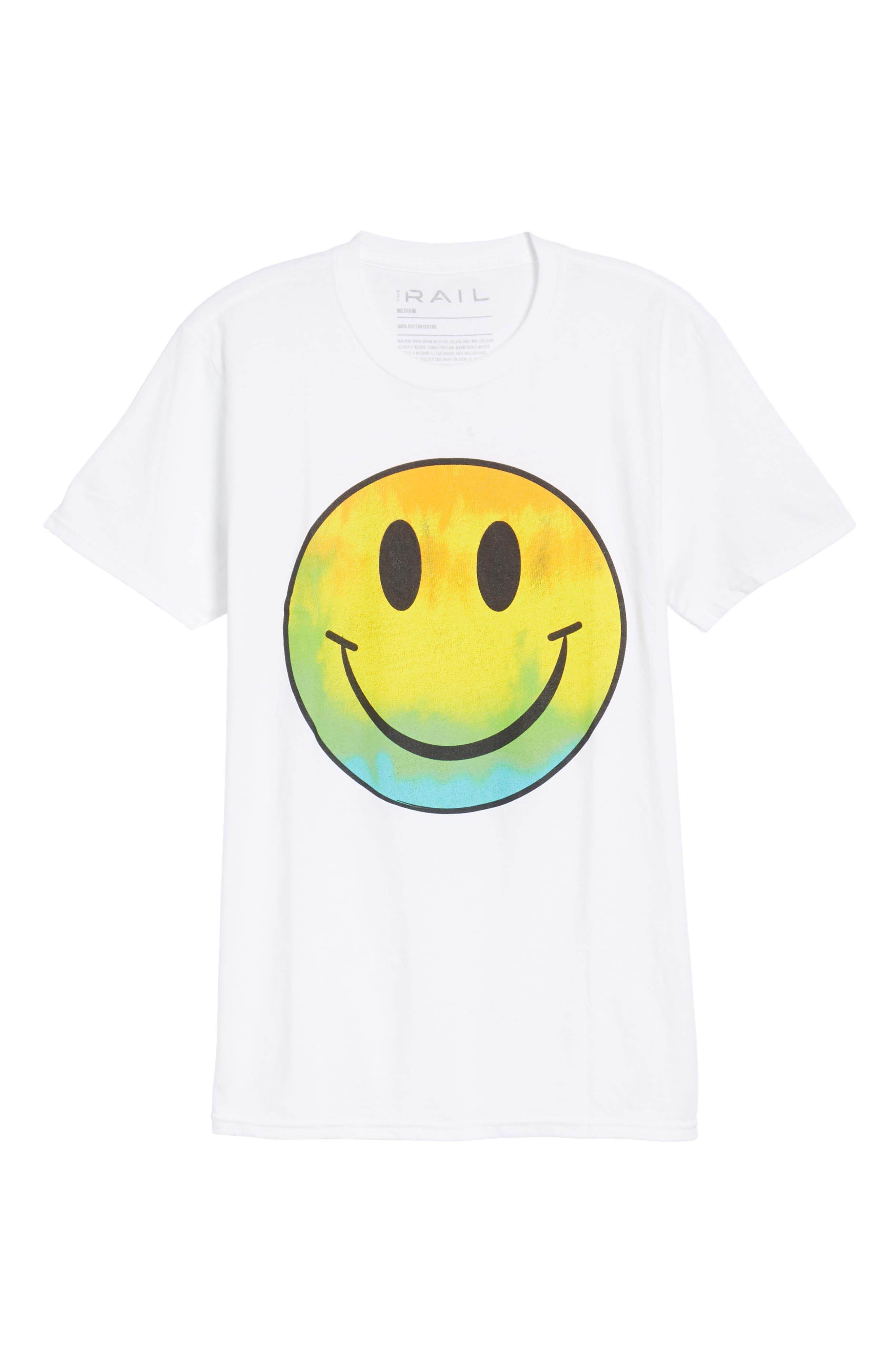 Tie Dye Smiley Face T-Shirt,                             Alternate thumbnail 6, color,                             White Tie Dye Smiley Face