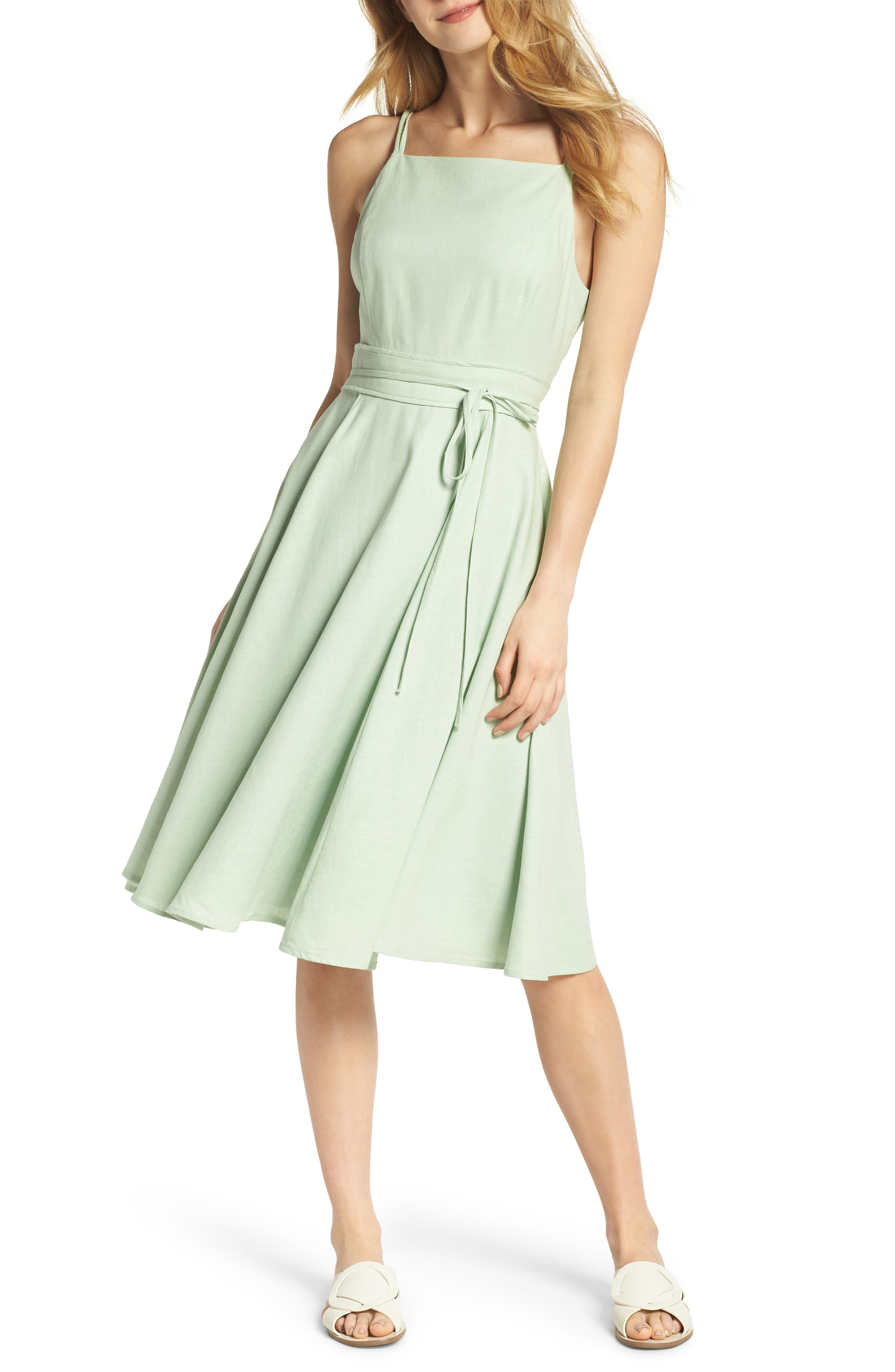 Caroline Linen Blend Fit & Flare Dress,                         Main,                         color, Mint Leaf