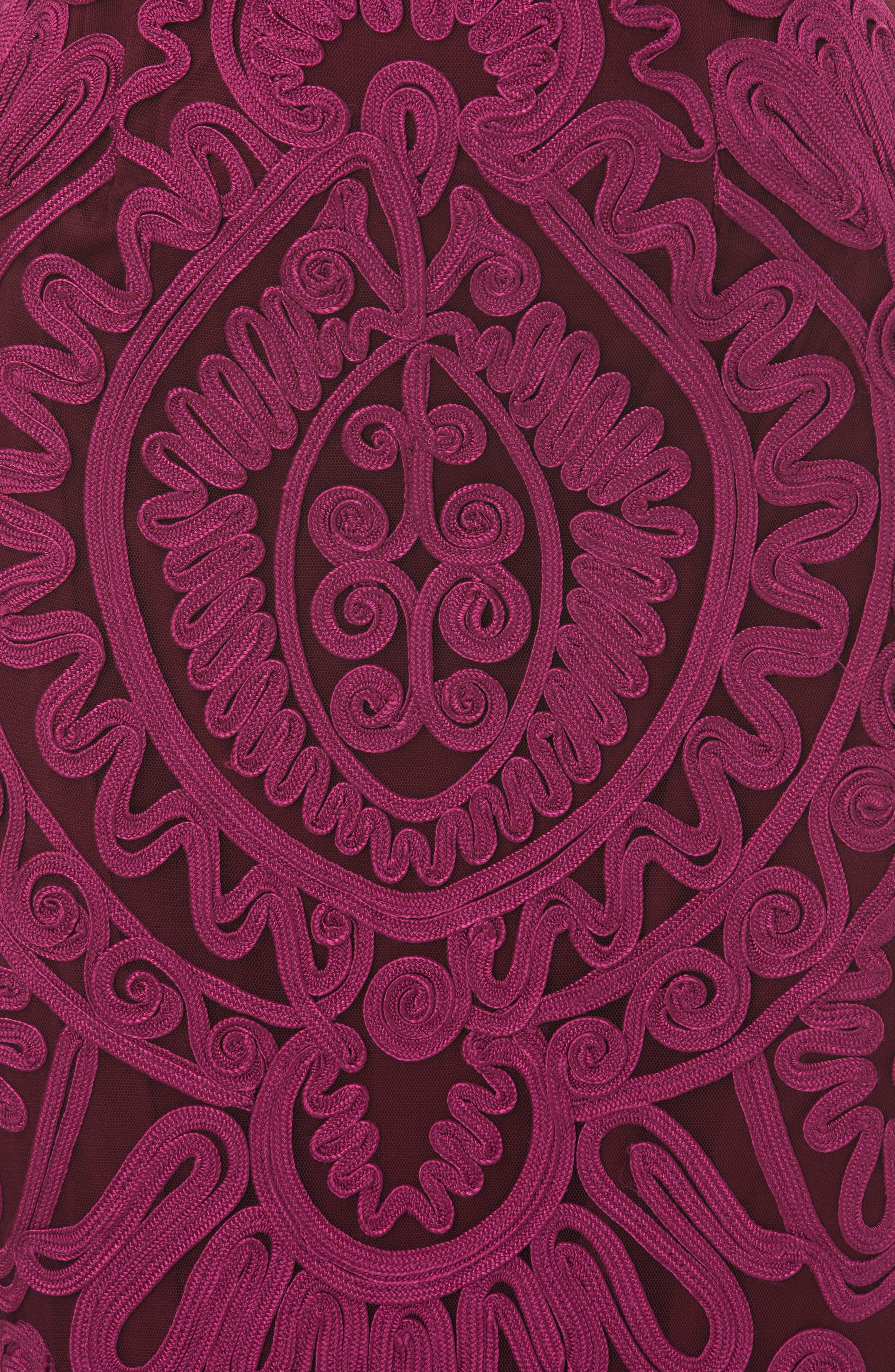 Soutache Trumpet Dress,                             Alternate thumbnail 3, color,                             Magenta